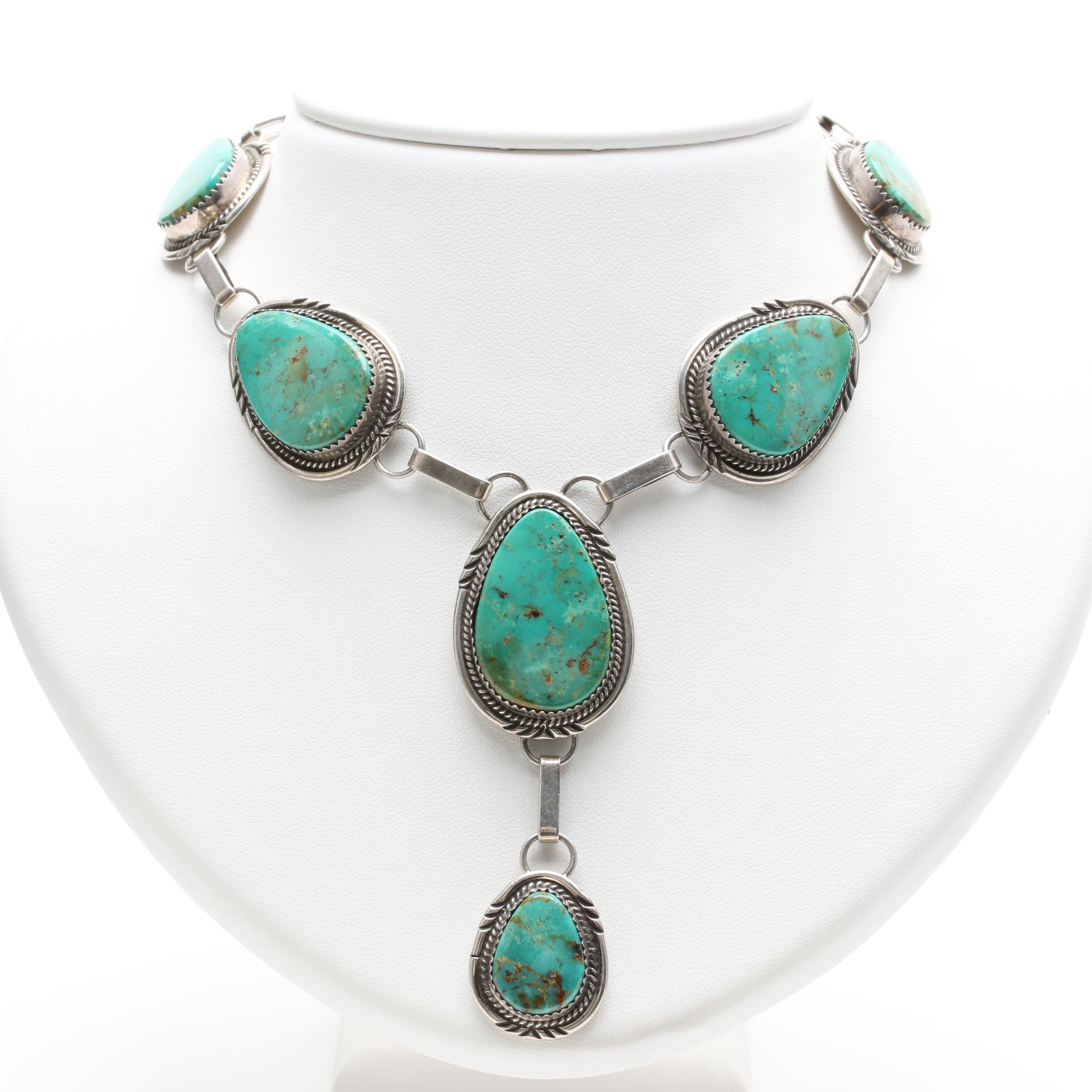 Southwest Style Sterling Silver Turquoise Necklace