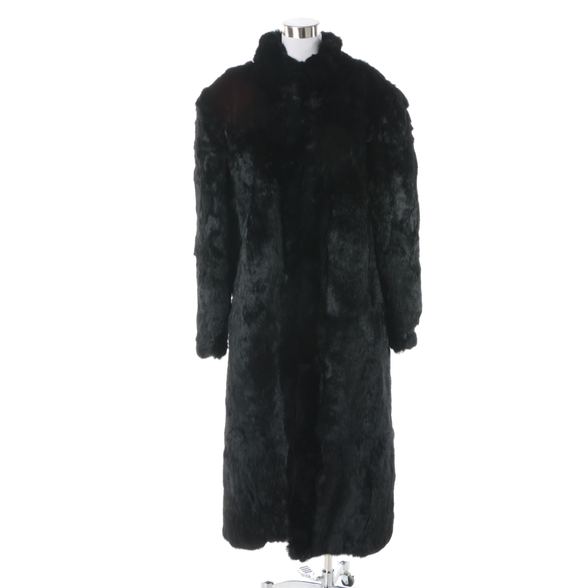 Black Rabbit Fur Mid-Length Coat Made in Hong Kong