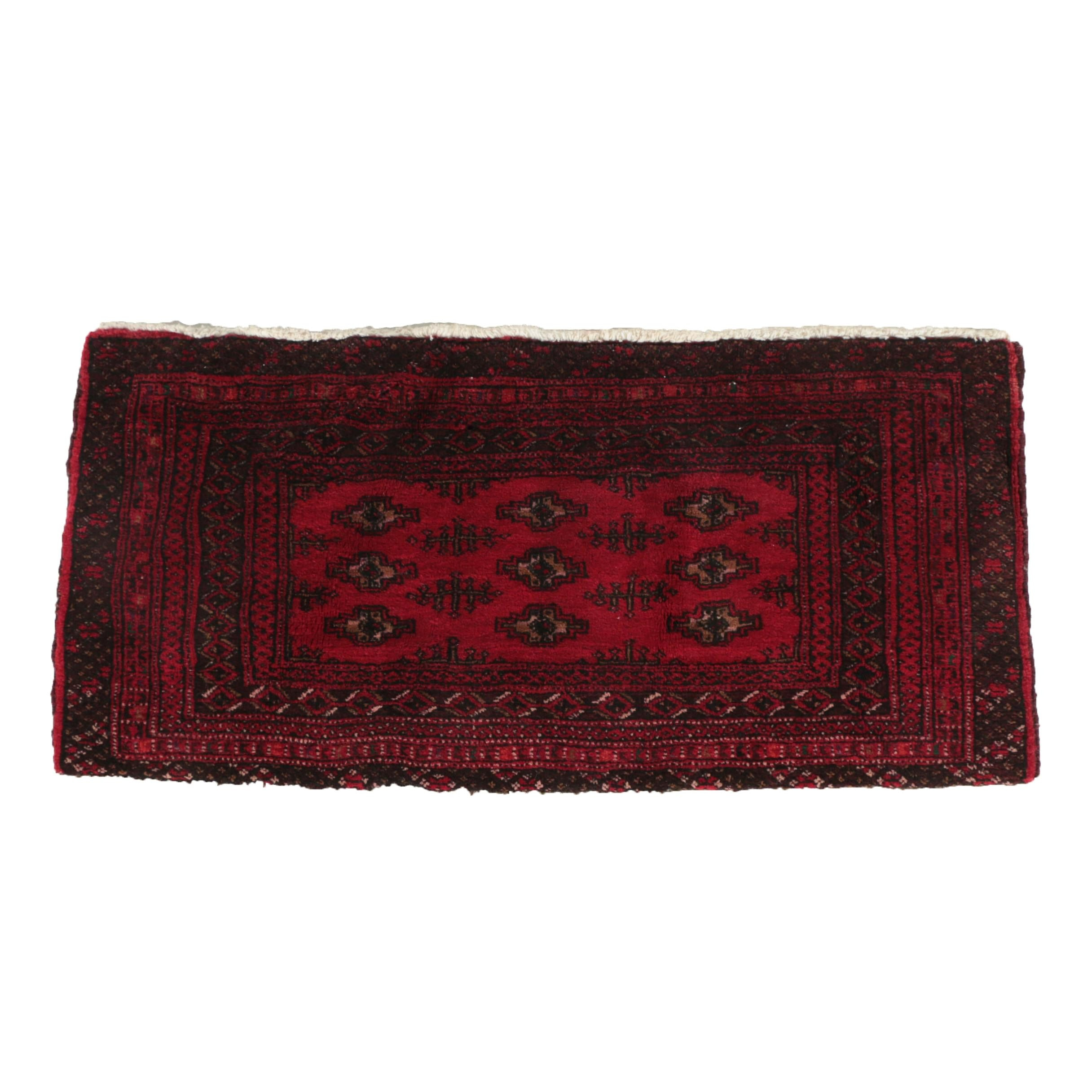 Hand-Knotted Turkish Bokhara Wool Accent Rug