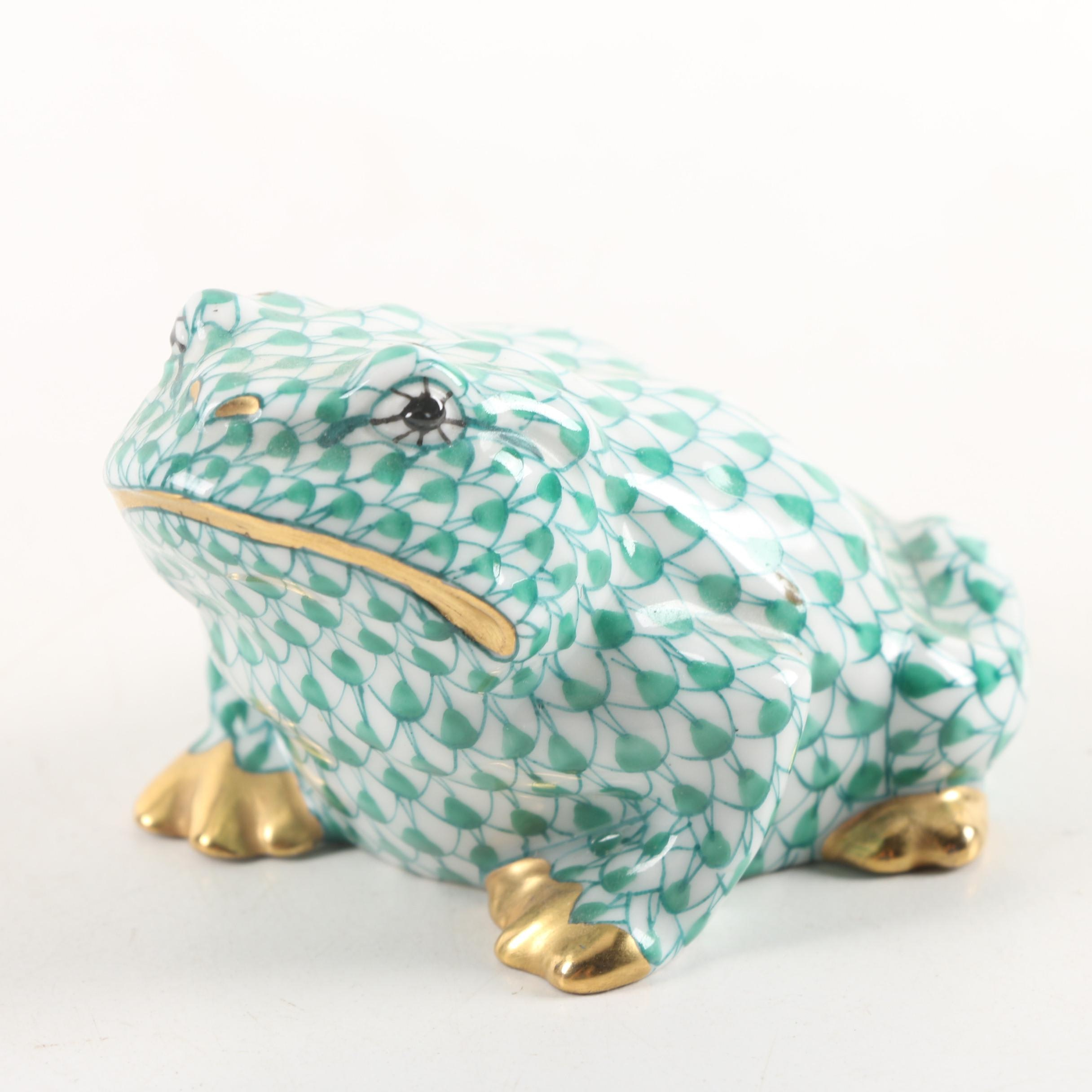 Herend Hand-Painted Porcelain Toad Figurine