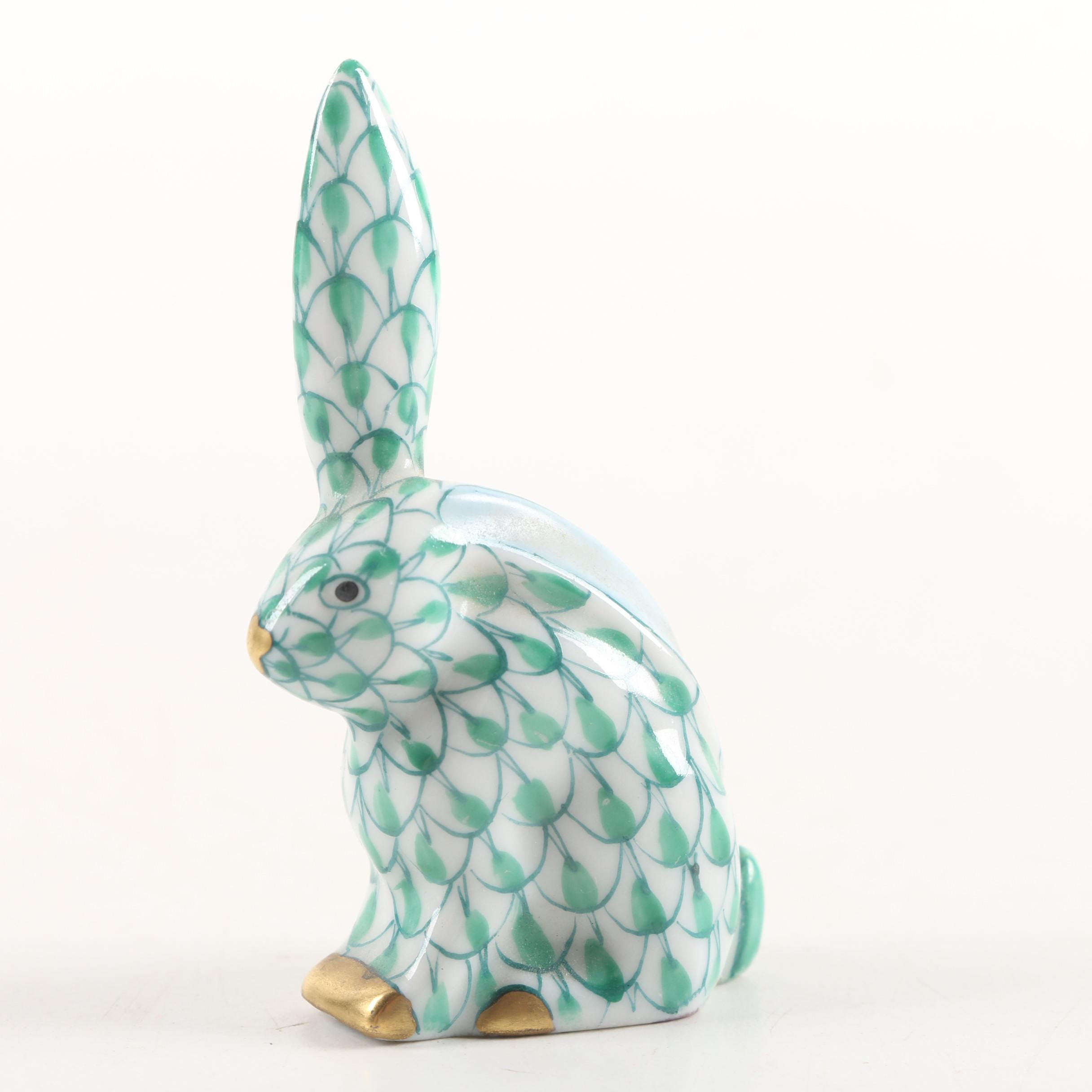 """Herend Hungary """"One Ear Up"""" Porcelain Rabbit Figurine"""