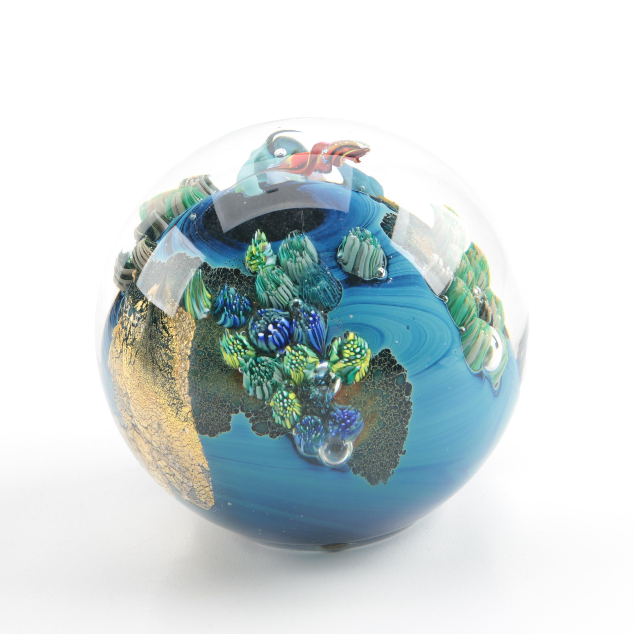 "Josh Simpson Contemporary Art Glass ""Planet"" Paperweight"