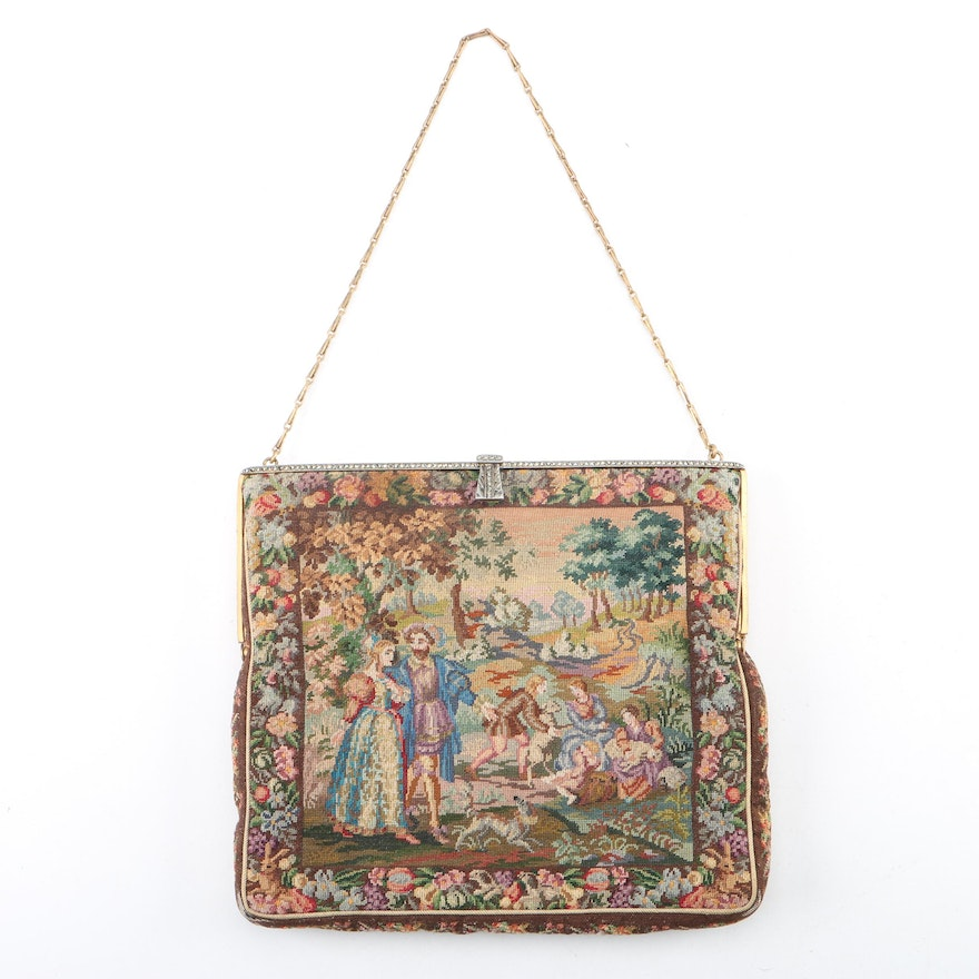 Vintage Needlepoint Frame Bag with Sateen Coin Pouch : EBTH
