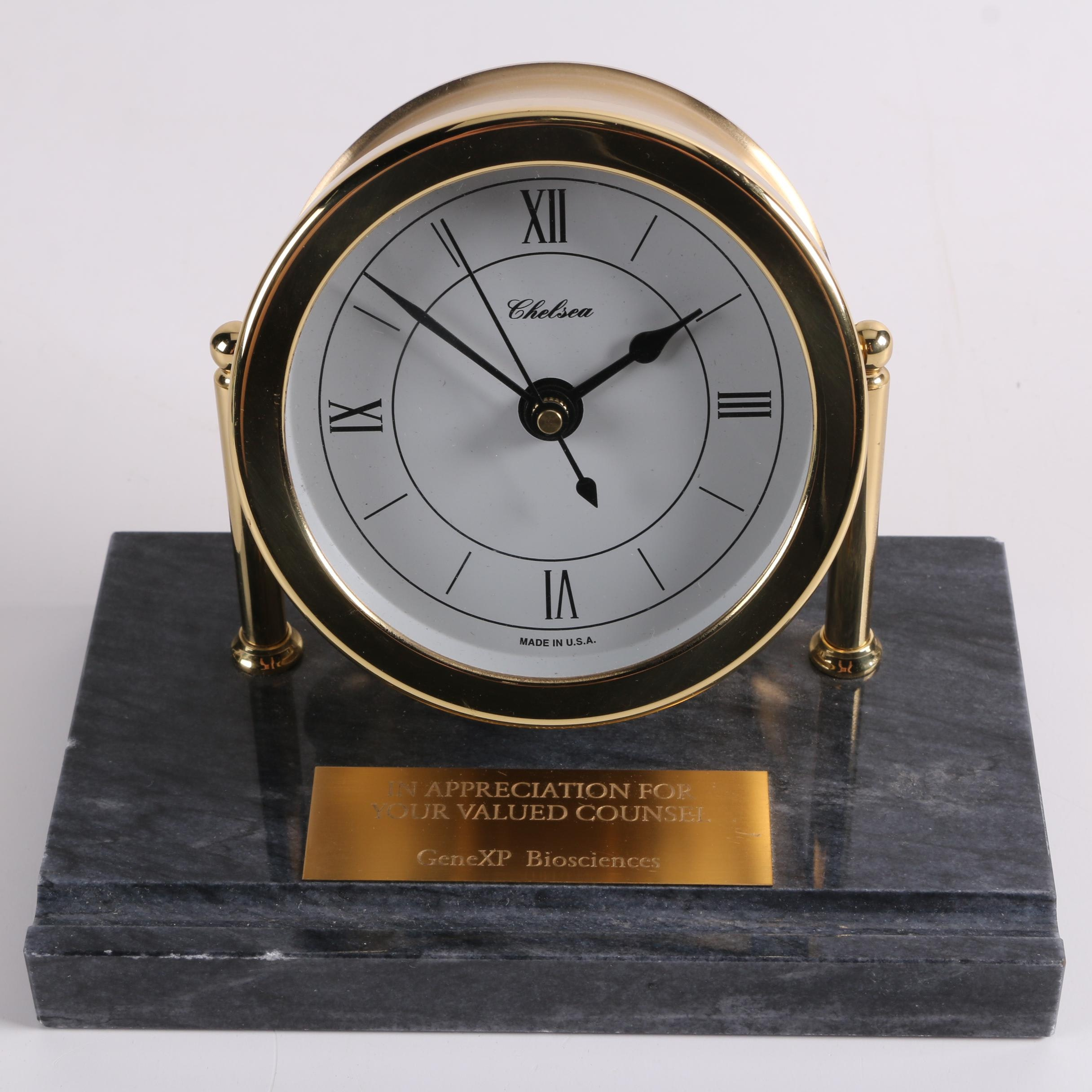 Chelsea Nautical Style Brass Desk Clock with Marble Base