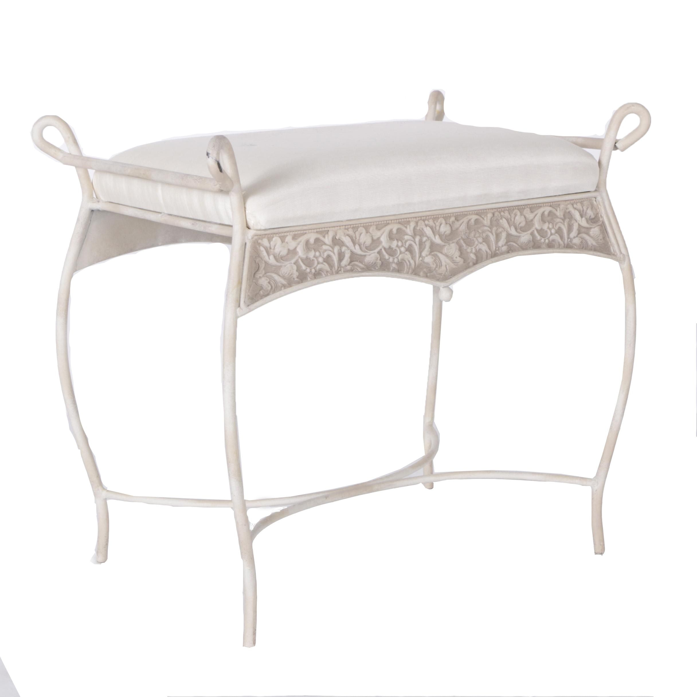 White Metal Vanity Stool