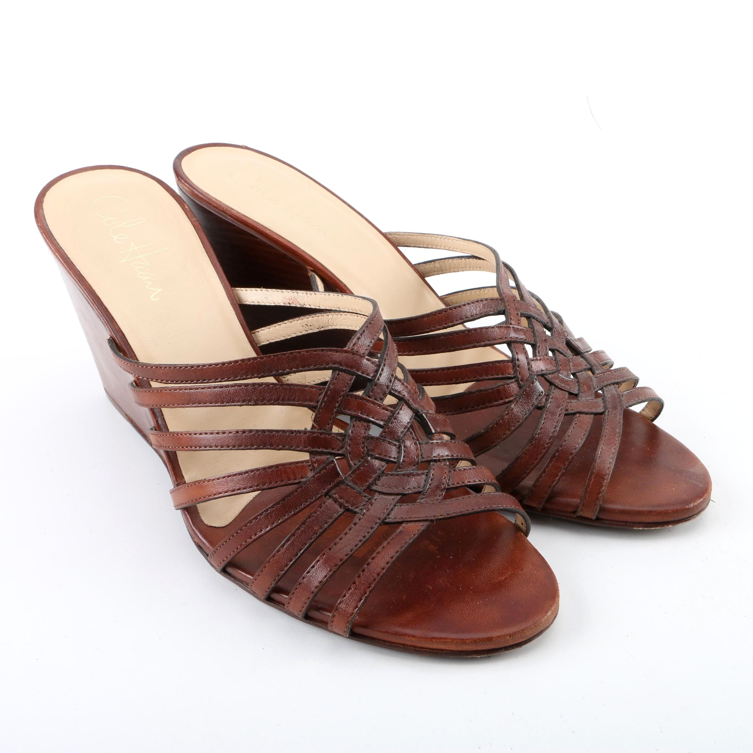 Women's Cole Haan Nike Air Brown Leather Wedge Sandals