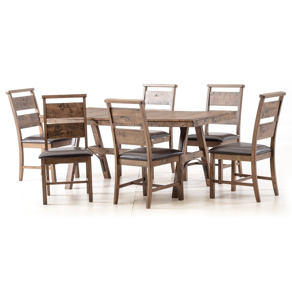 A Contemporary Rustic Style Dining Set