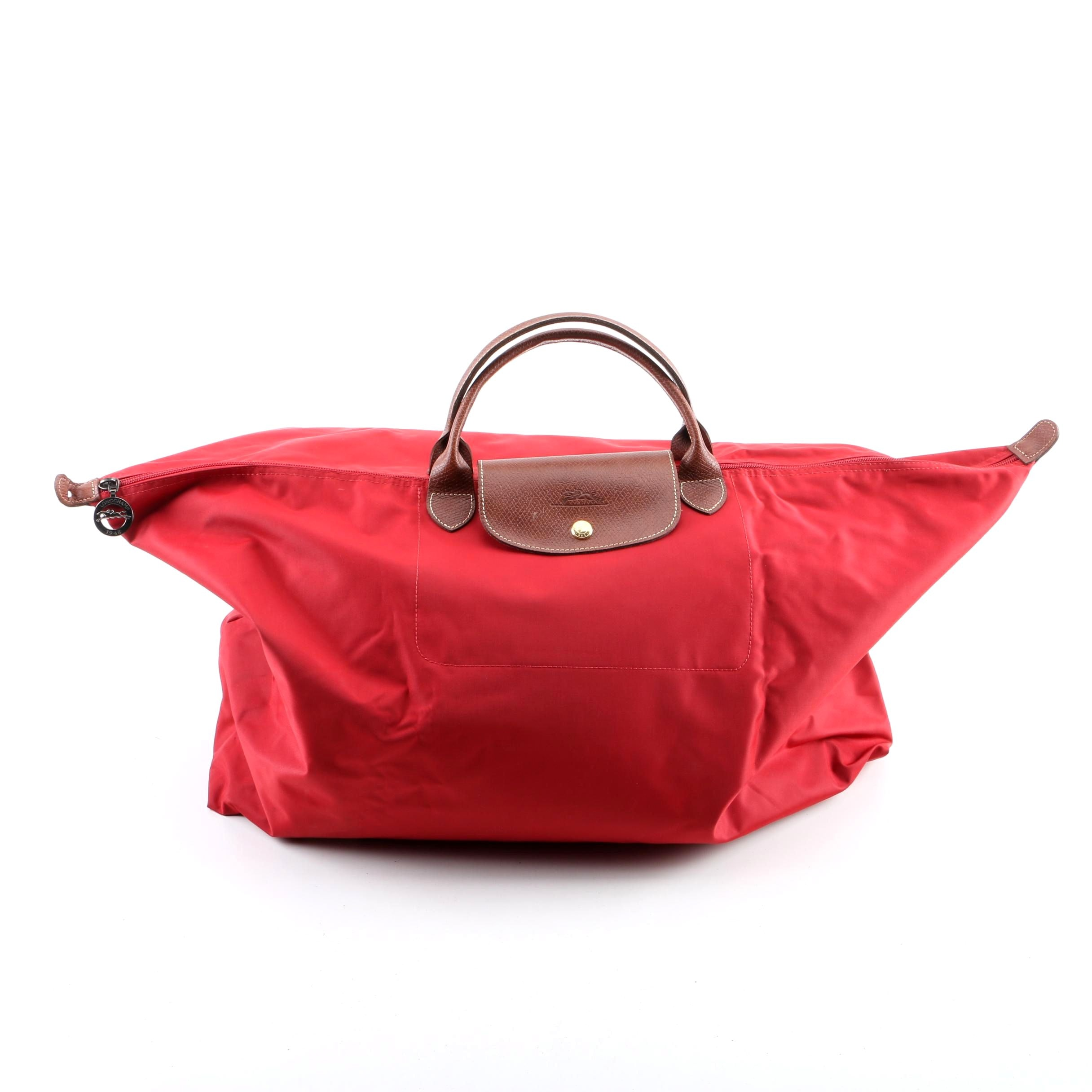 Longchamp Le Pliages Extra Large Red and Leather Tote