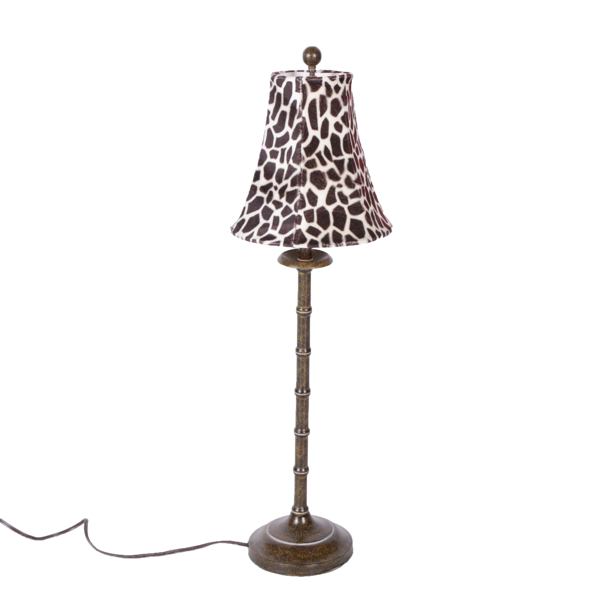 Metal Candlestick Style Table Lamp with Giraffe Print Shade