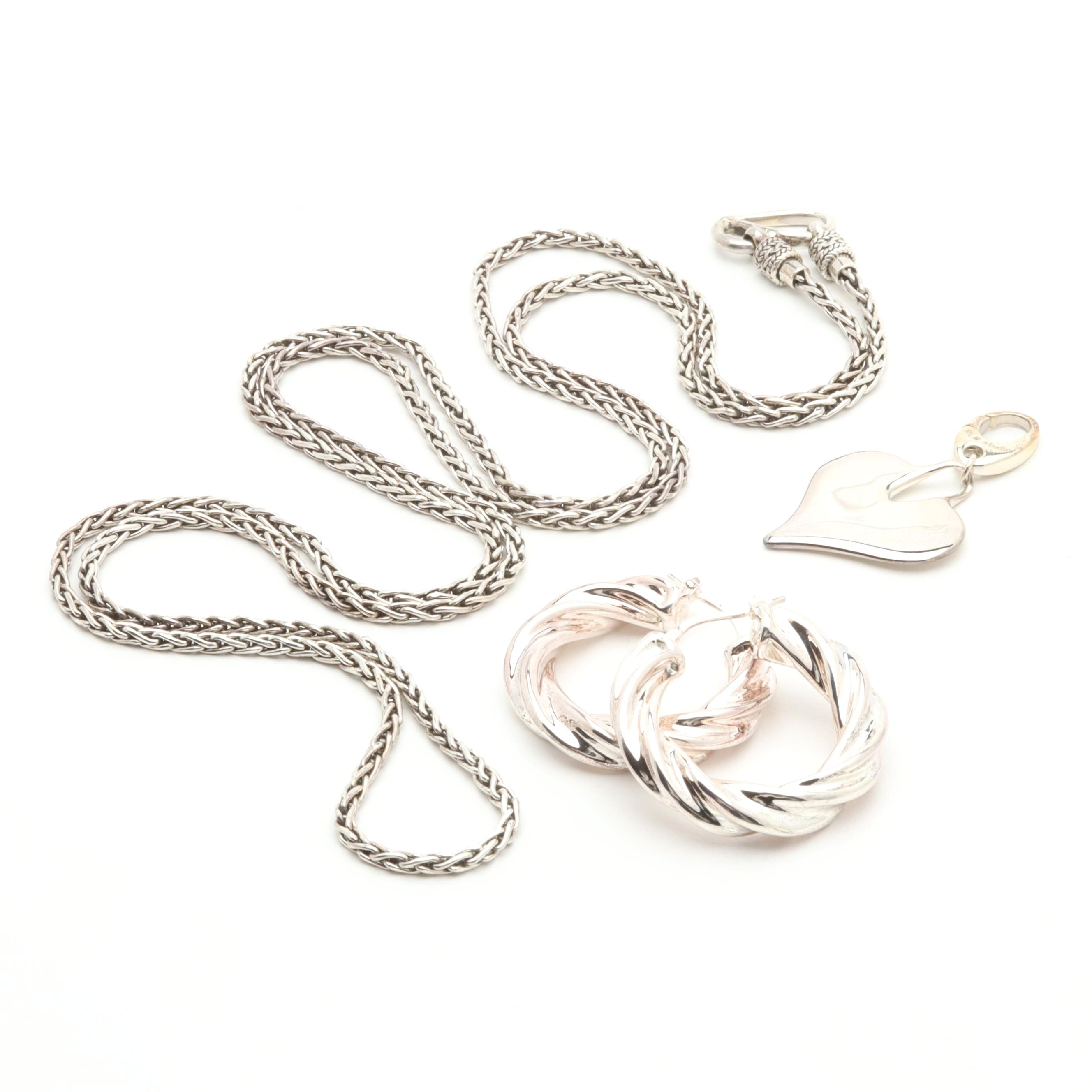 Sterling Silver Jewelry Including Suarti Necklace and Milor 950 Silver Earrings