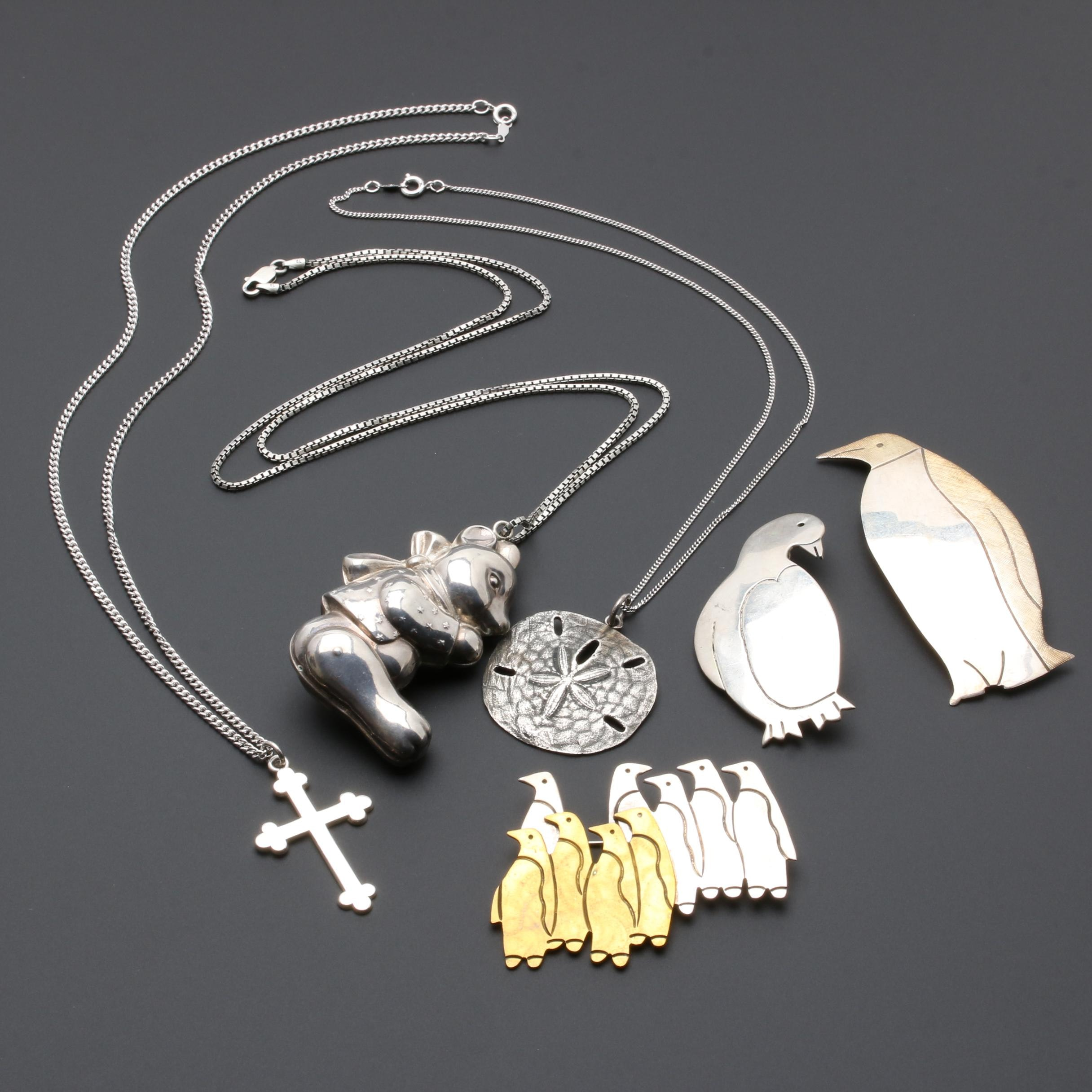 Mexican Sterling Silver and James Avery Sterling Silver Necklaces and Brooches