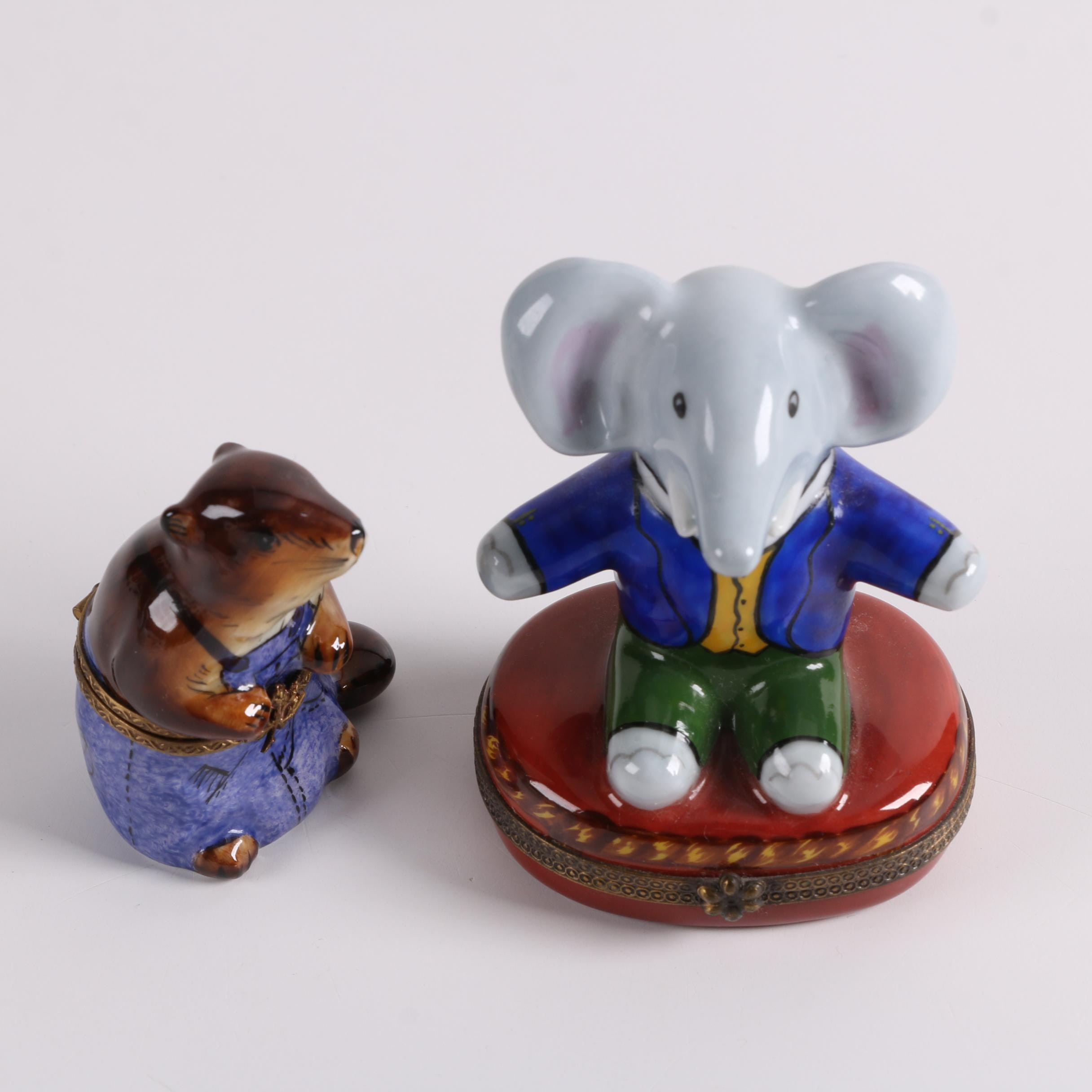 Limoges Hand-Painted Anthropomorphic Beaver and Elephant Porcelain Trinket Boxes
