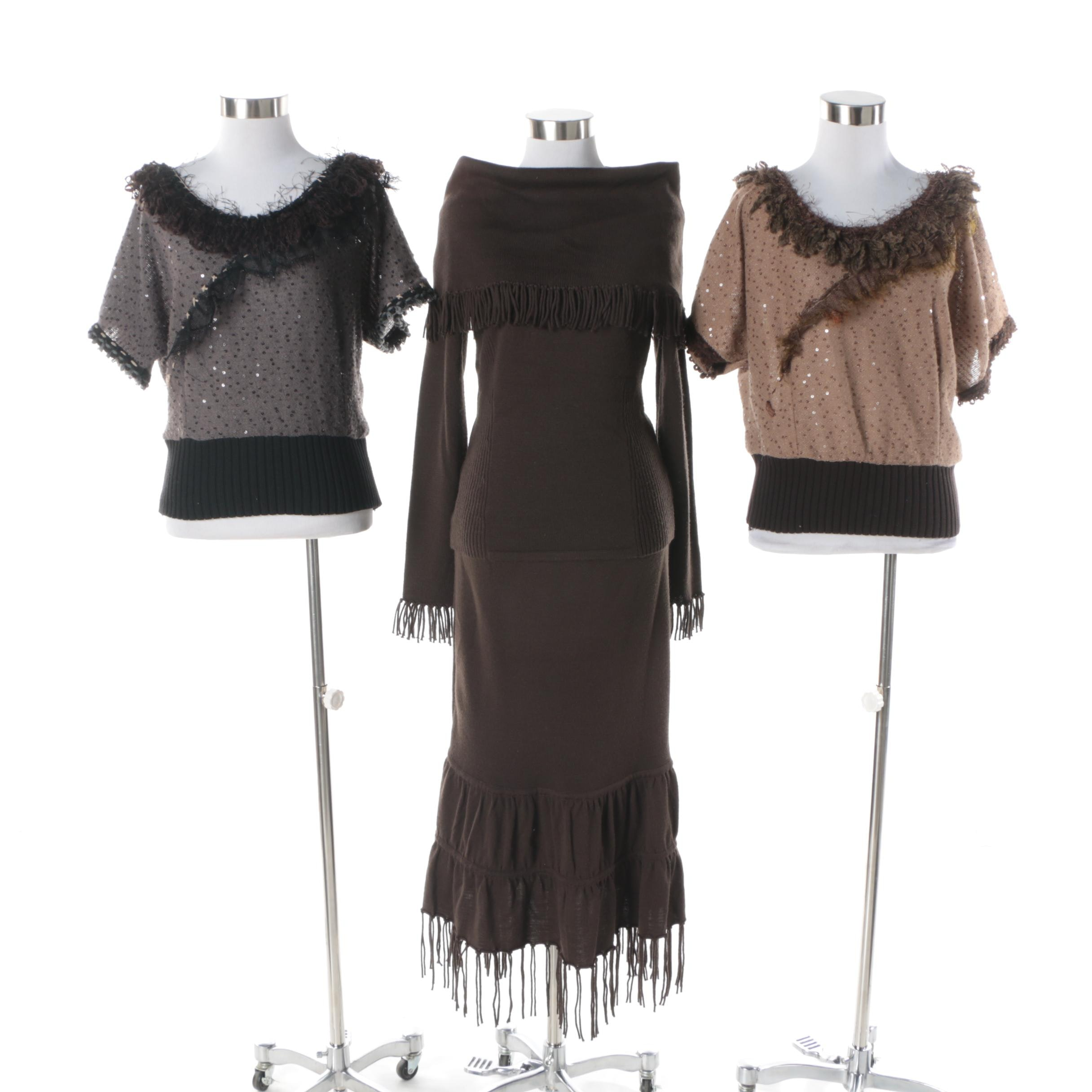 Colette Mordo Fringed Knit Ensemble and Forla Paris Sweaters