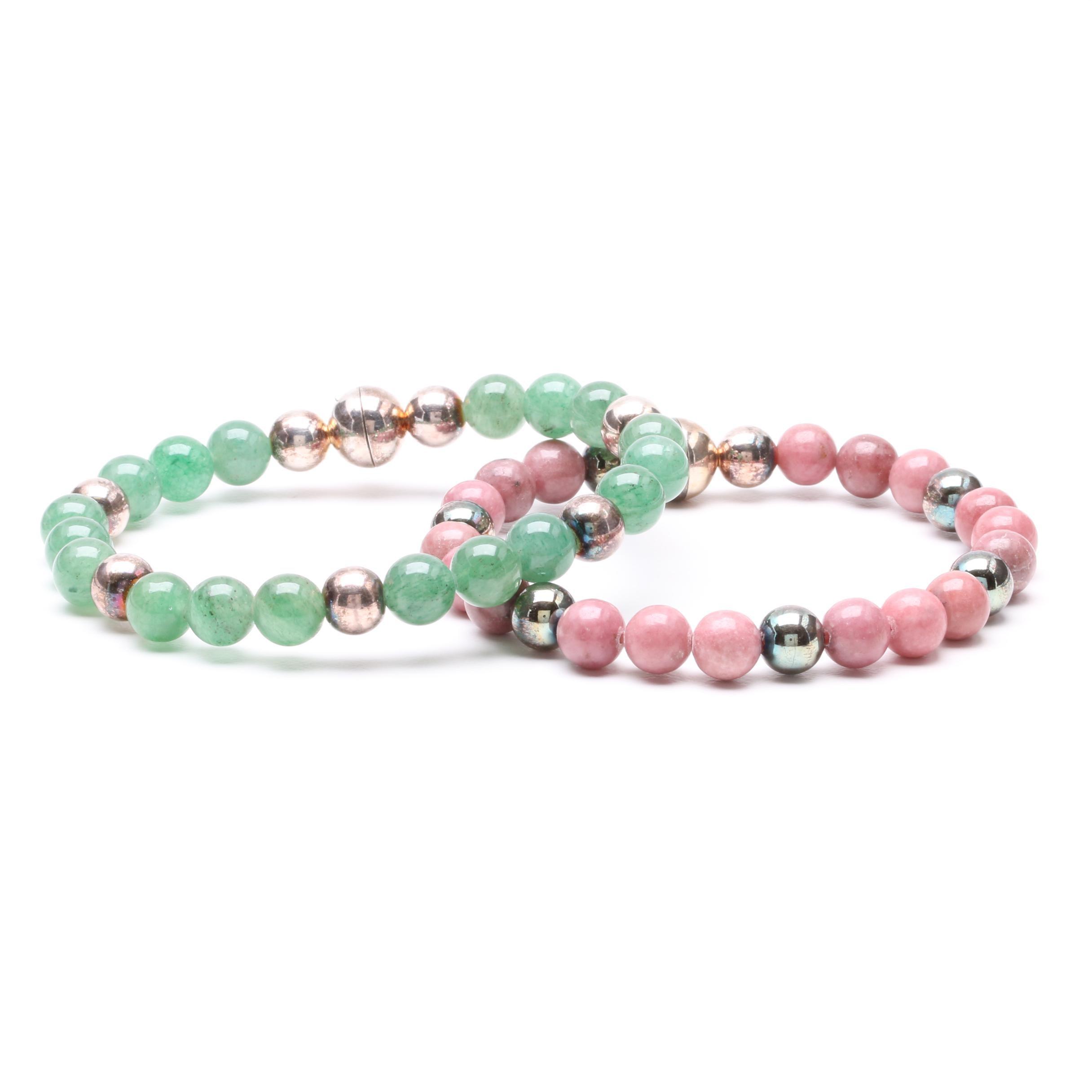 Milor Sterling Silver Aventurine and Rhodonite Beaded Bracelets