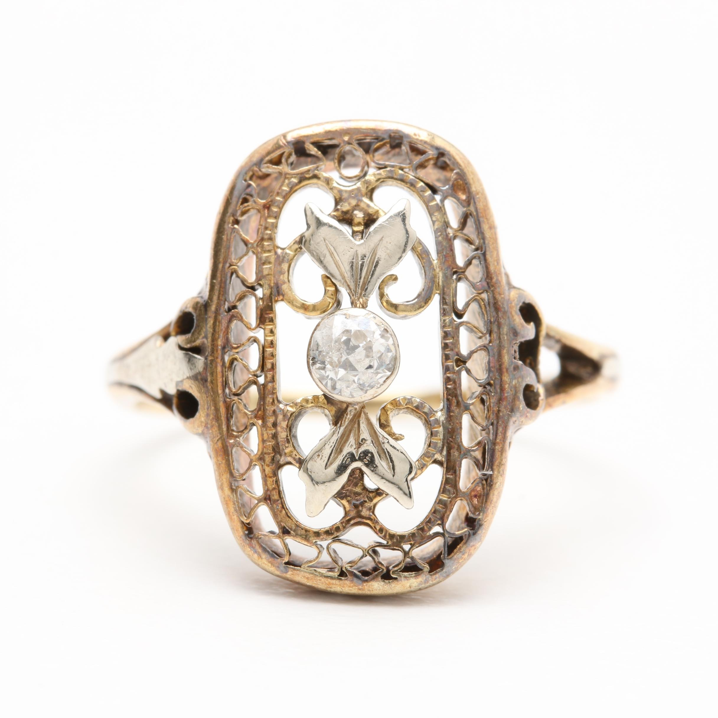 Edwardian 14K Yellow Gold Diamond Ring With White Gold Accents