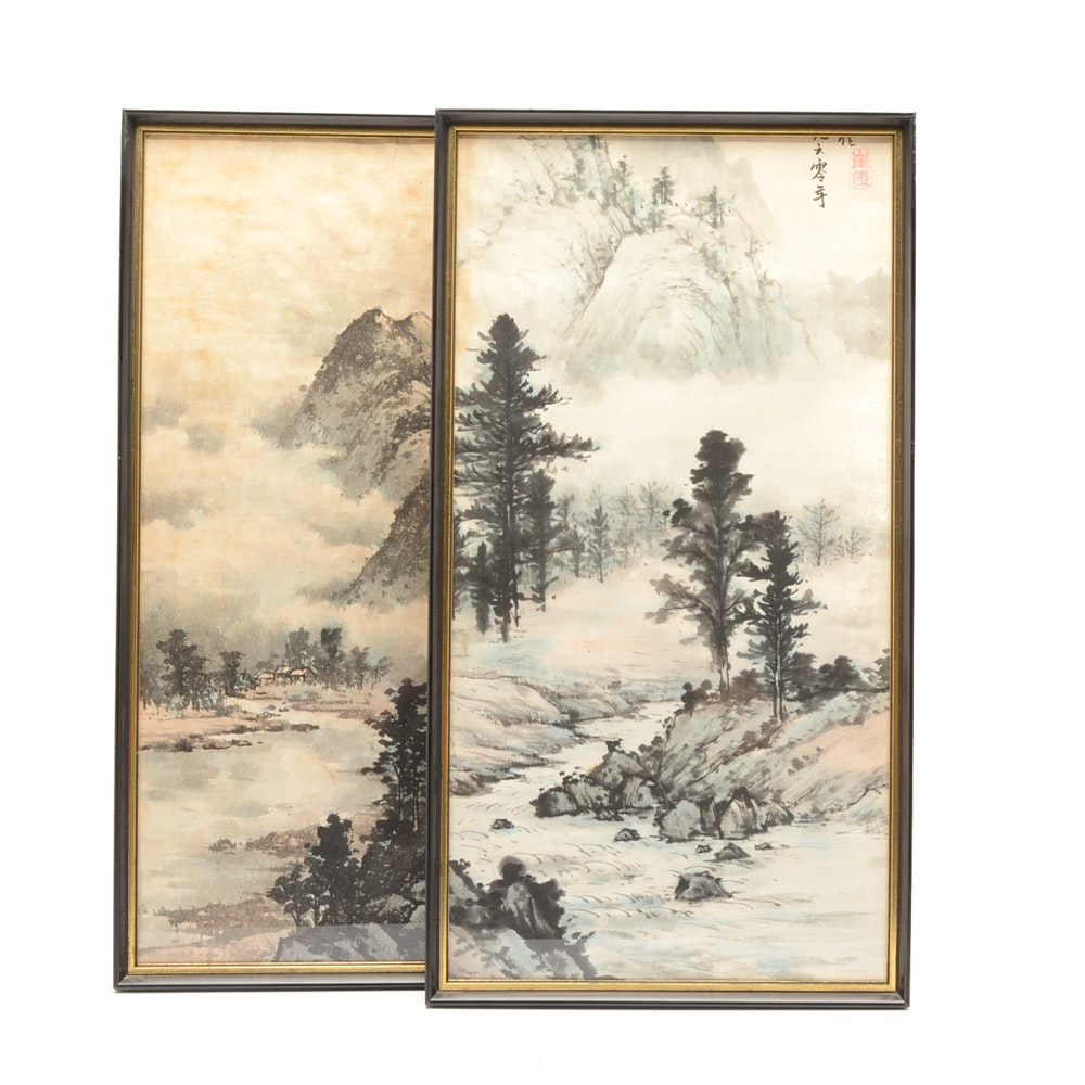 Chinese Watercolor on Rice Paper Diptych of Mountain Landscape