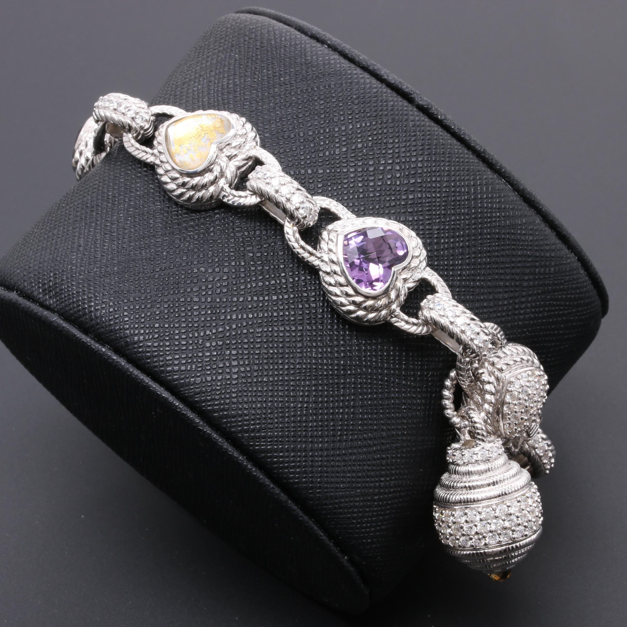 Judith Ripka Sterling Silver Heart Link Bracelet Featuring Amethyst