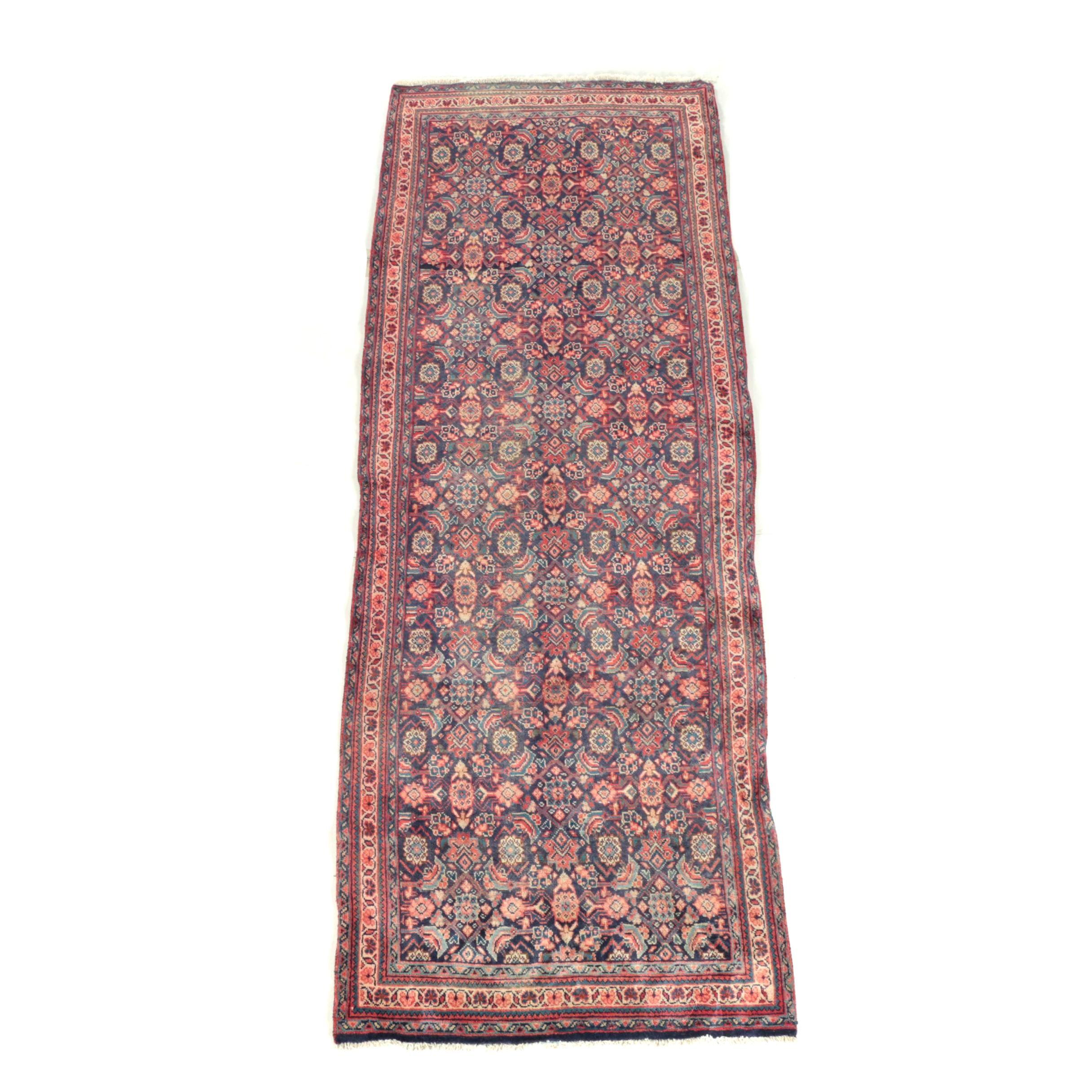 Hand-Knotted Persian Qashqai Wool Carpet Runner