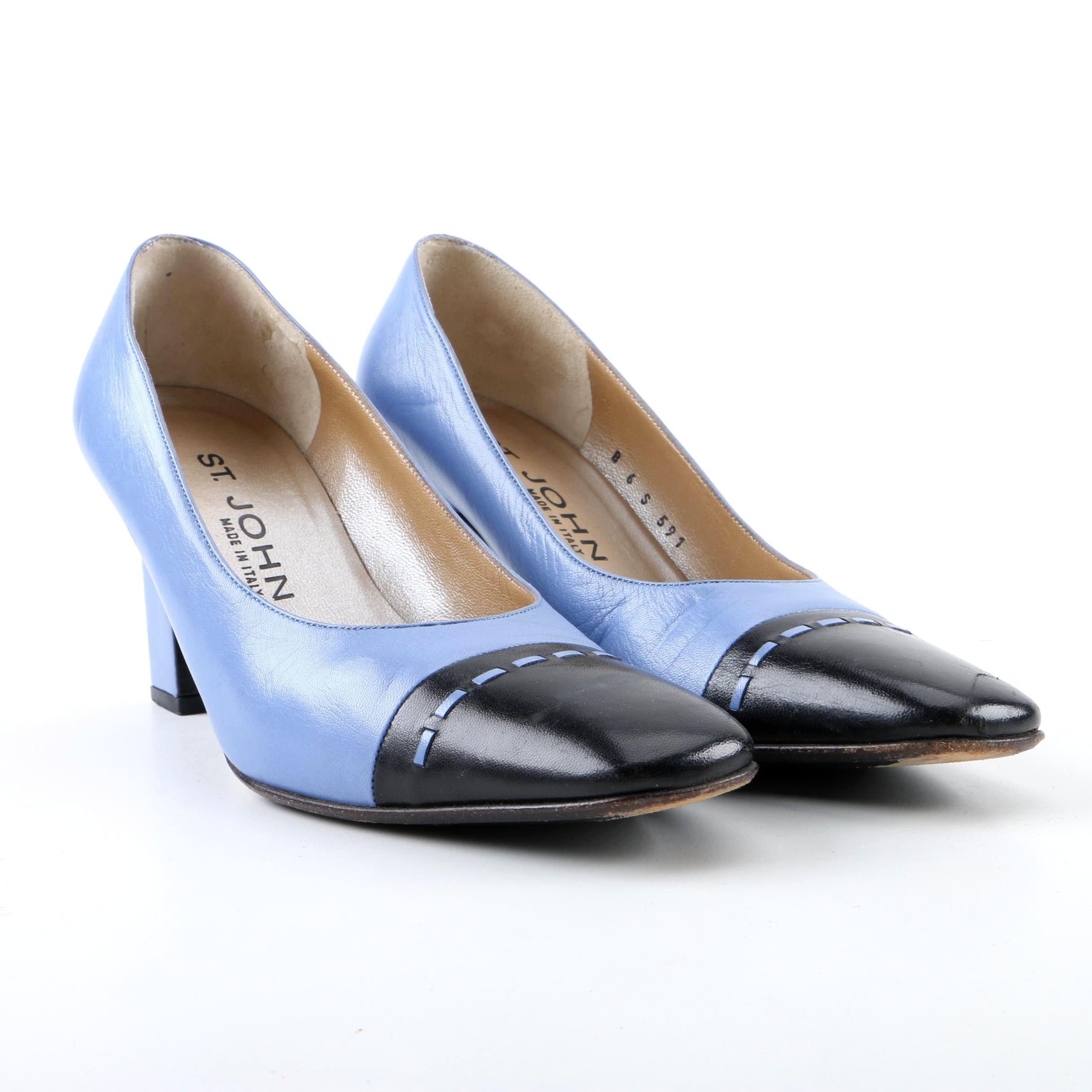 St. John Light Blue and Black Toe Cap Leather High-Heeled Pumps