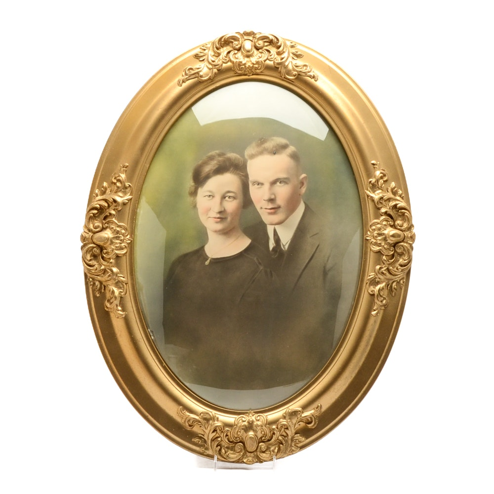 Vintage Hand-colored Photograph of Couple Framed Under Convex Glass