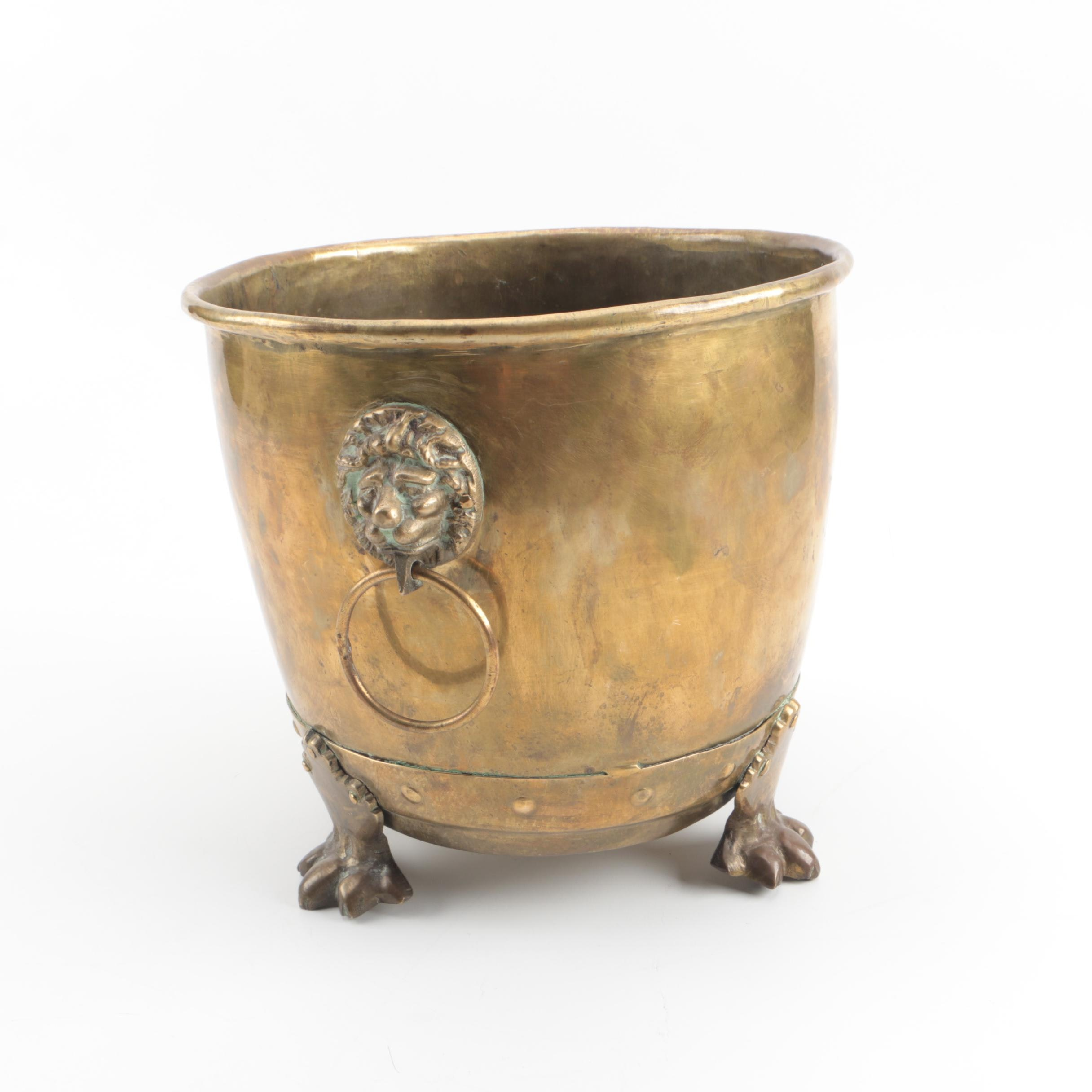Indian Brass Footed Planter with Lion's Head Handles
