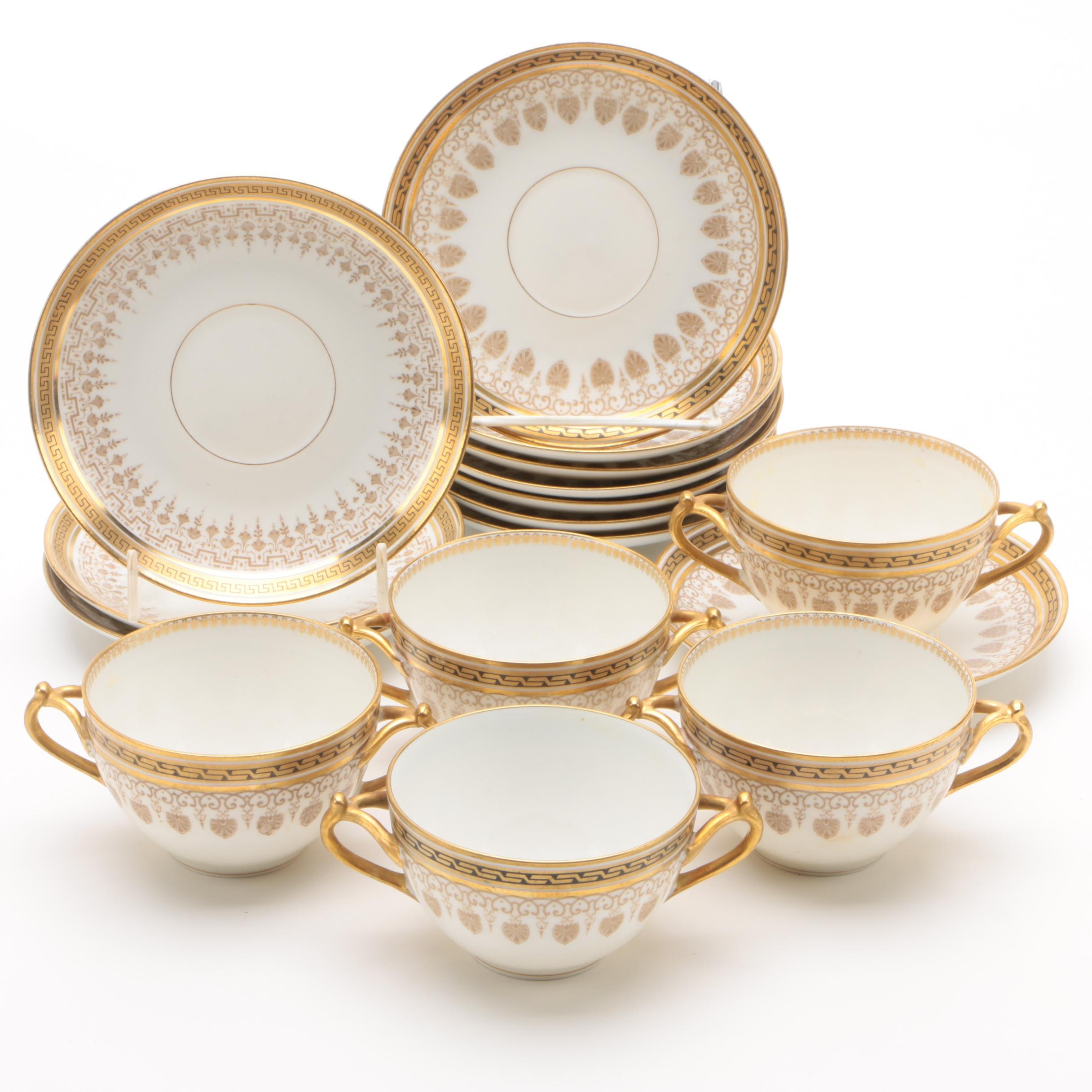 Vintage Bernardaud & Co. Limoges Porcelain Bouillon Cups and Saucers