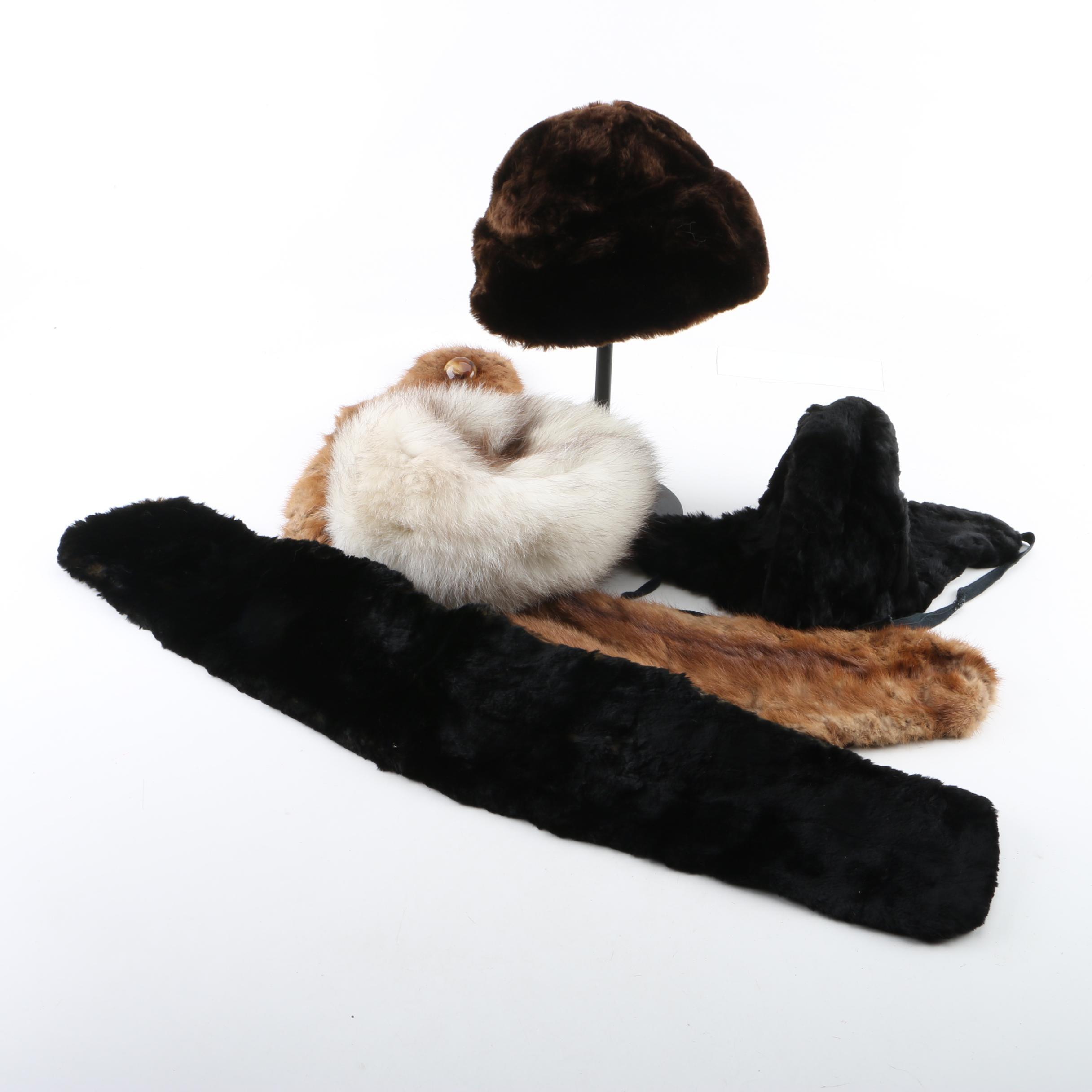 Vintage Collars and Hats in Marten Fur, Beaver Fur and Fox Fur