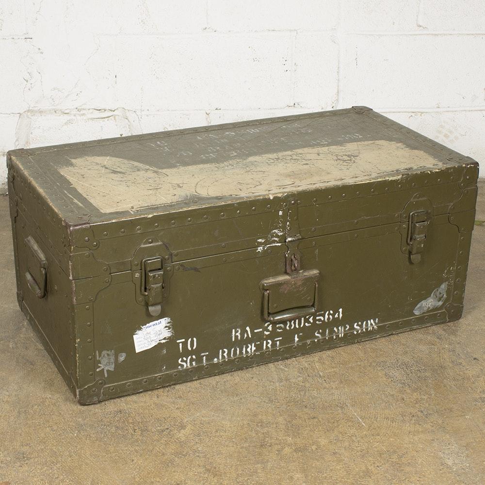 Vintage Green Metal Military Foot Locker Chest