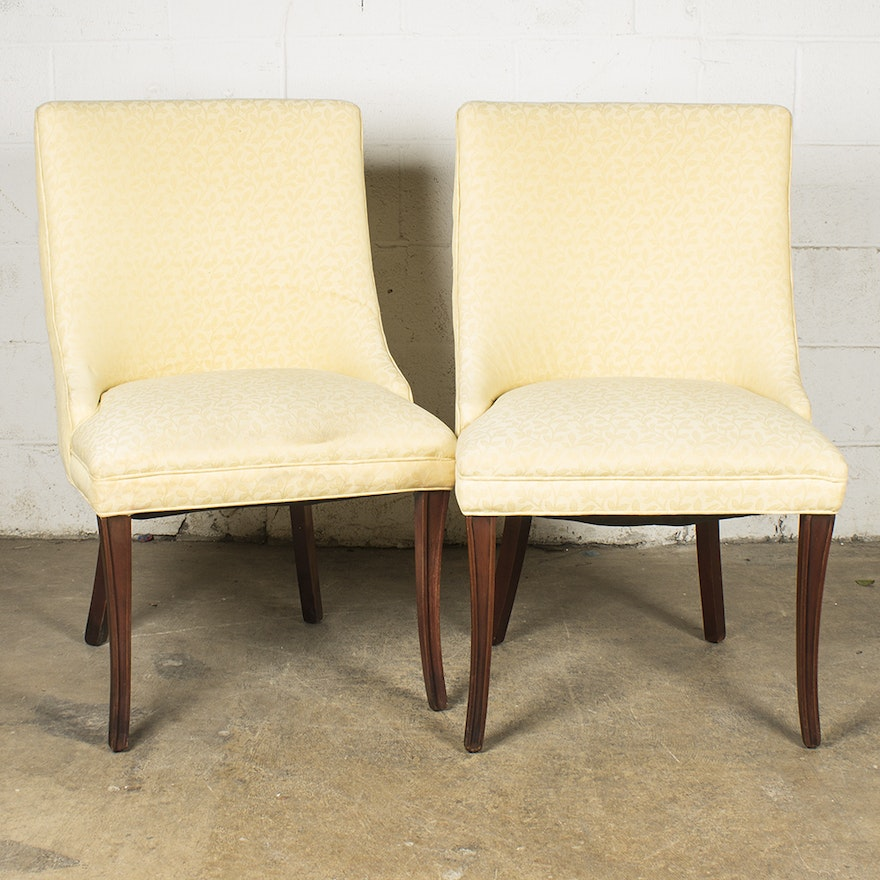 Pale Yellow Upholstered Accent Chairs