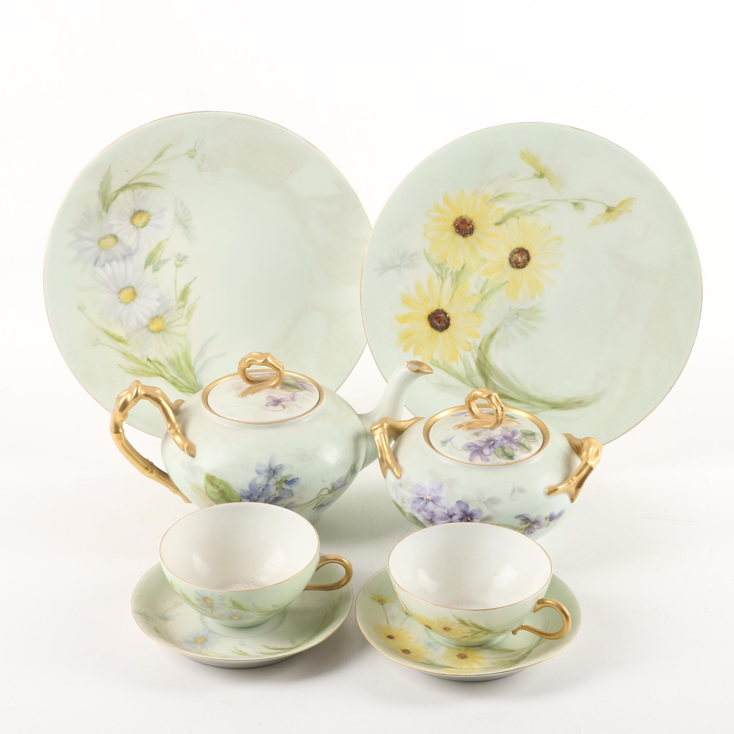 Hobbyist Painted Jean Pouyat Limoges Porcelain Tableware