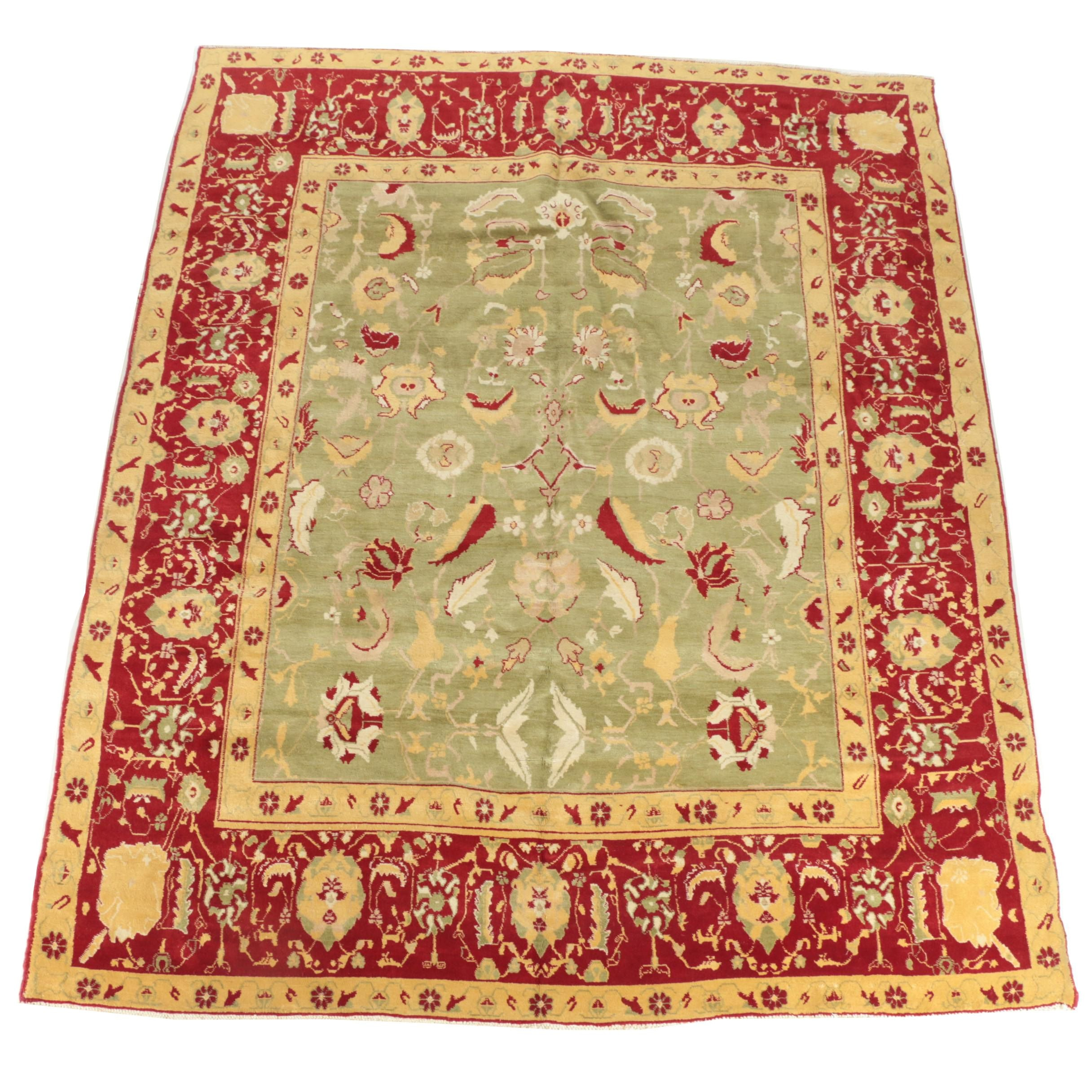 Hand-Knotted Indo-Oushak Wool Room Sized Rug