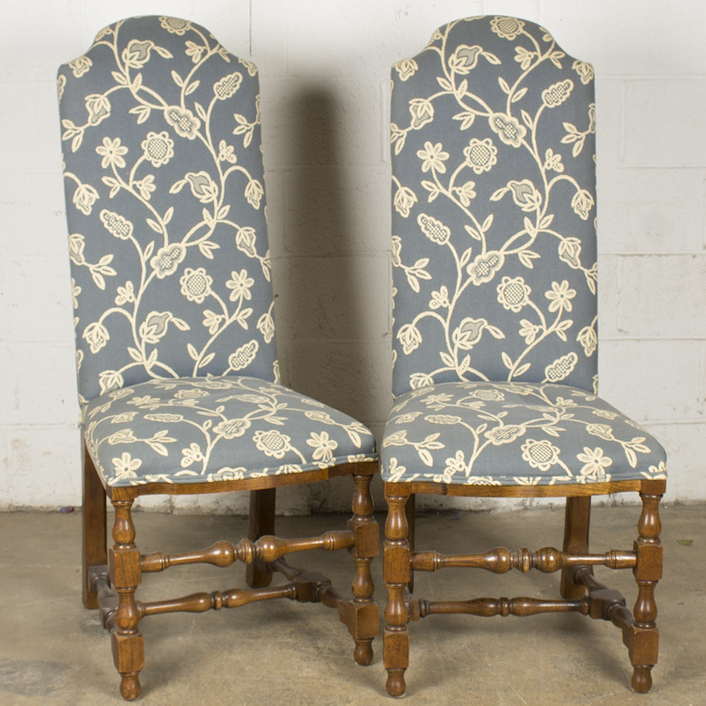 Blue and Floral Upholstered Slipper Chairs by Century Chair Company