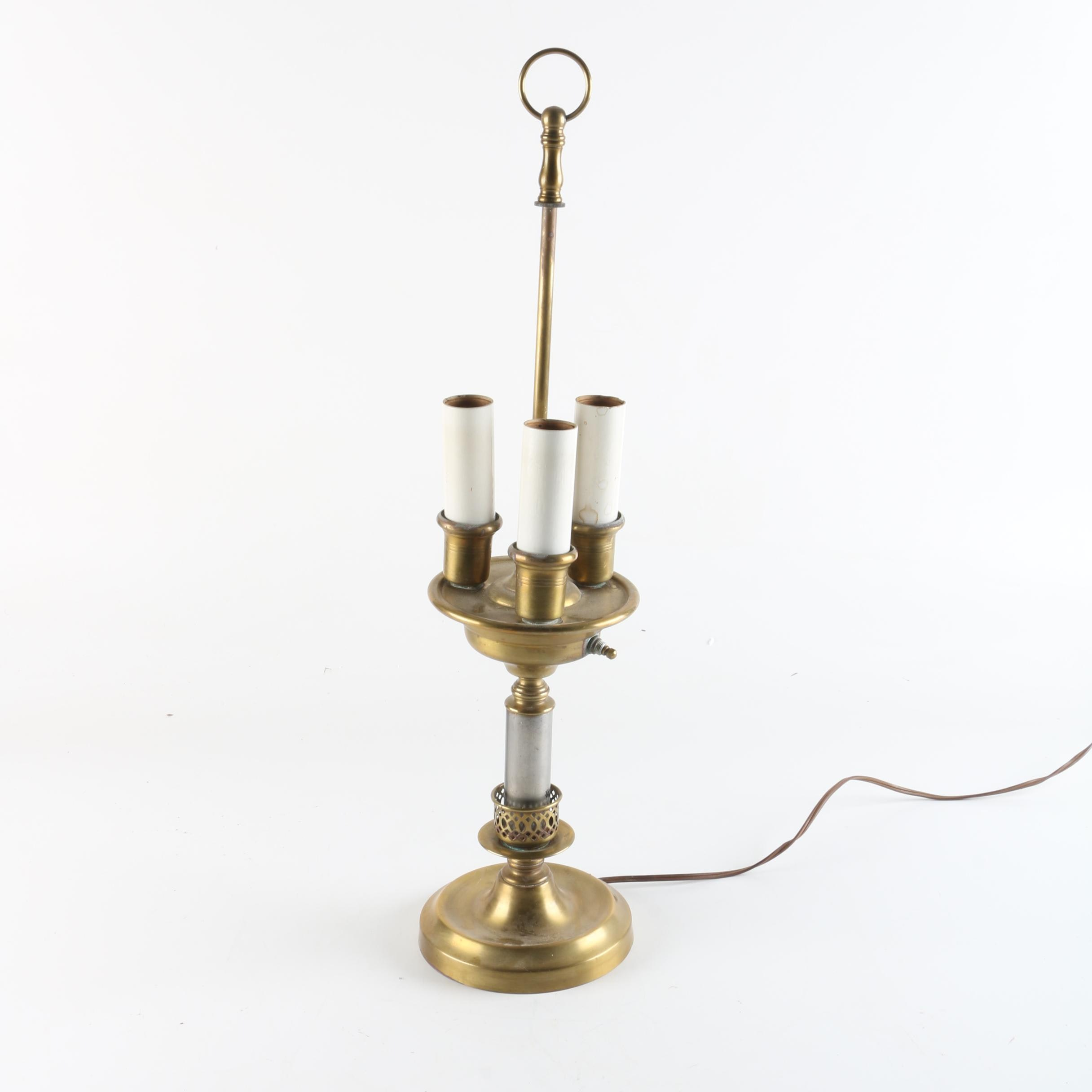 Brass and Silver Toned Bouillotte Style Desk Lamp