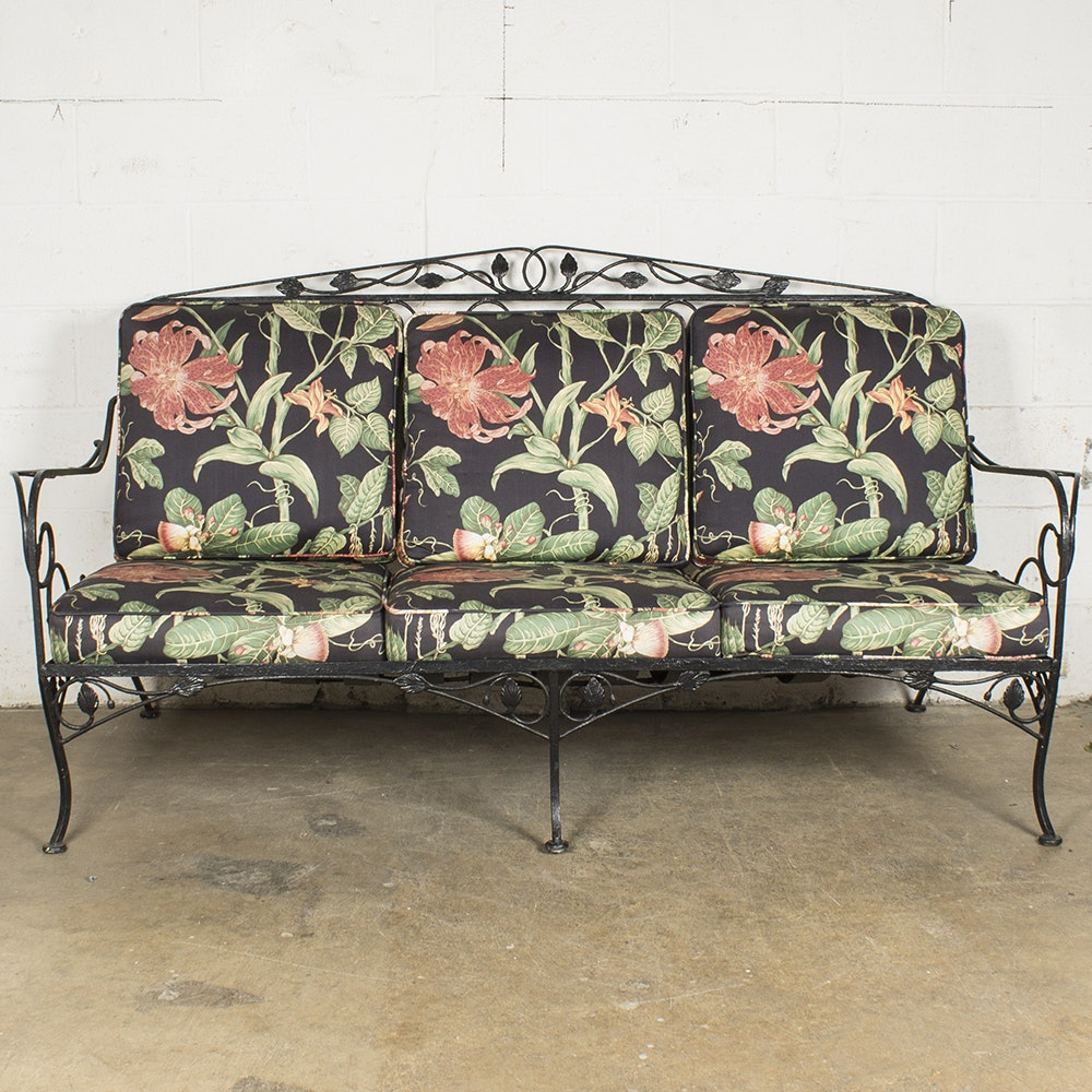 Wrought Iron Patio Sofa With Upholstered Cushions
