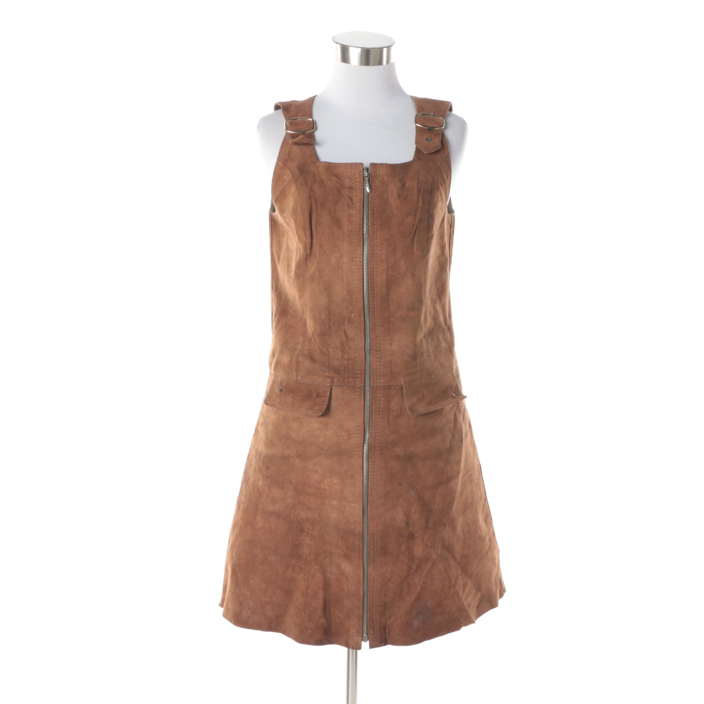 Women's Vintage Brown Suede Sleeveless Overall Dress