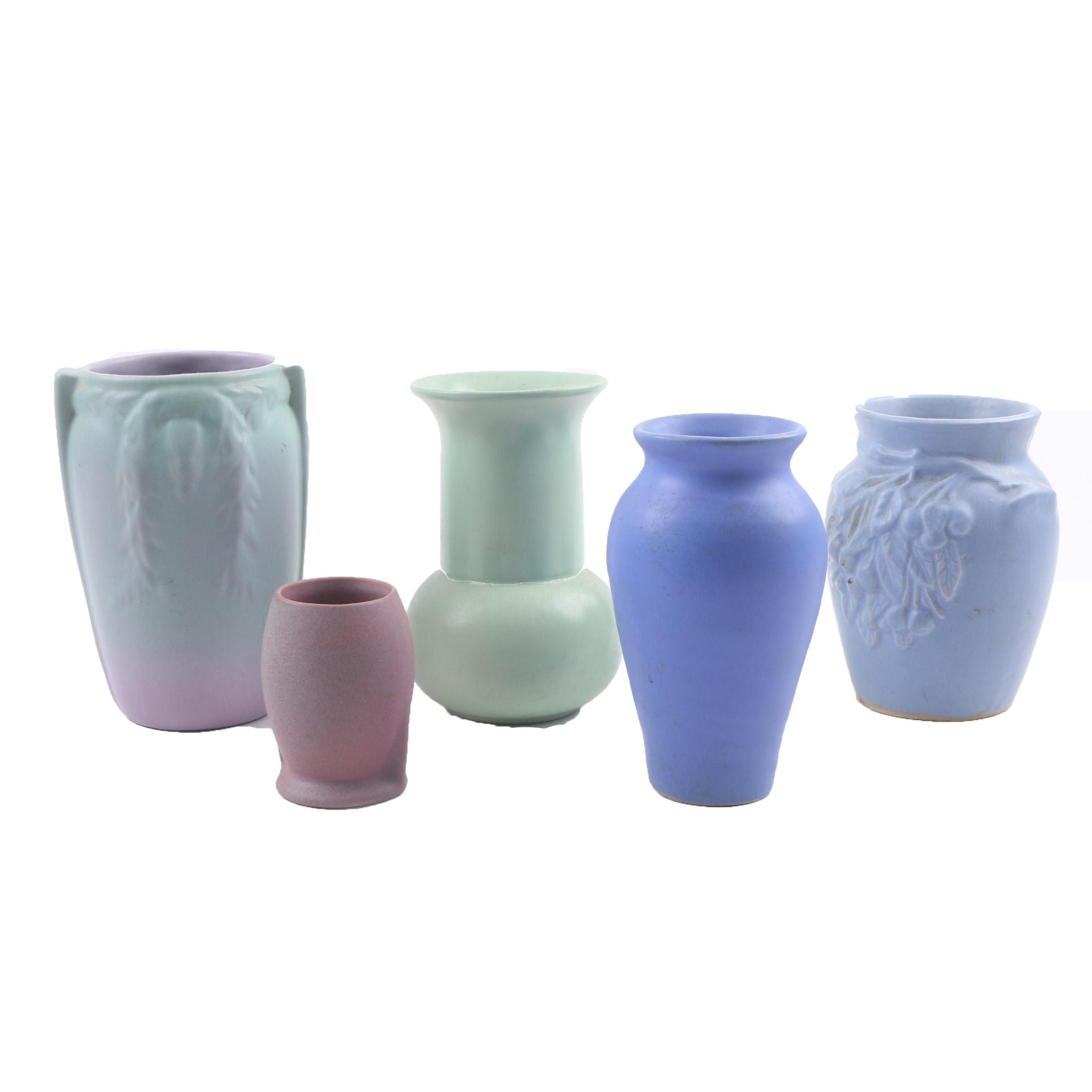 Vintage Ceramic Matte Glaze Vases Including Rumrill