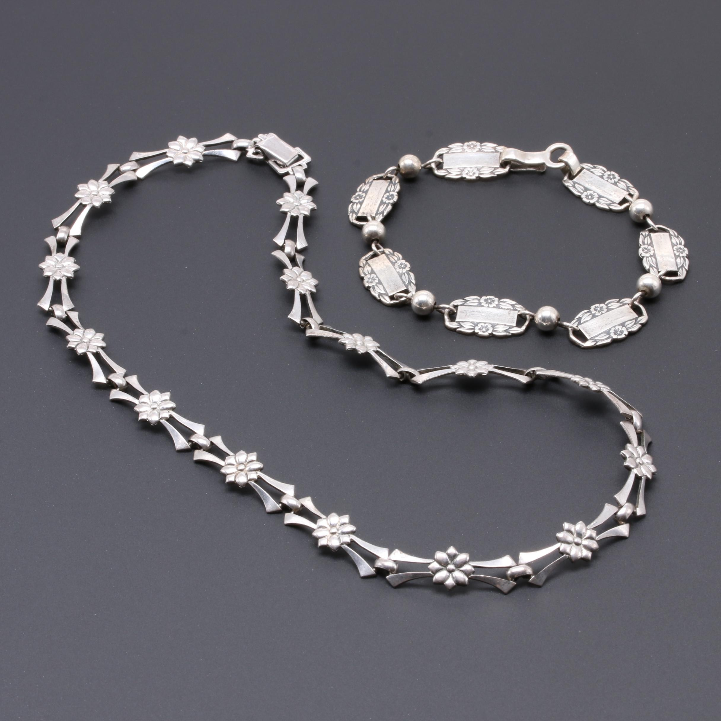 Sterling Silver Necklace and Bracelet with Floral Motifs