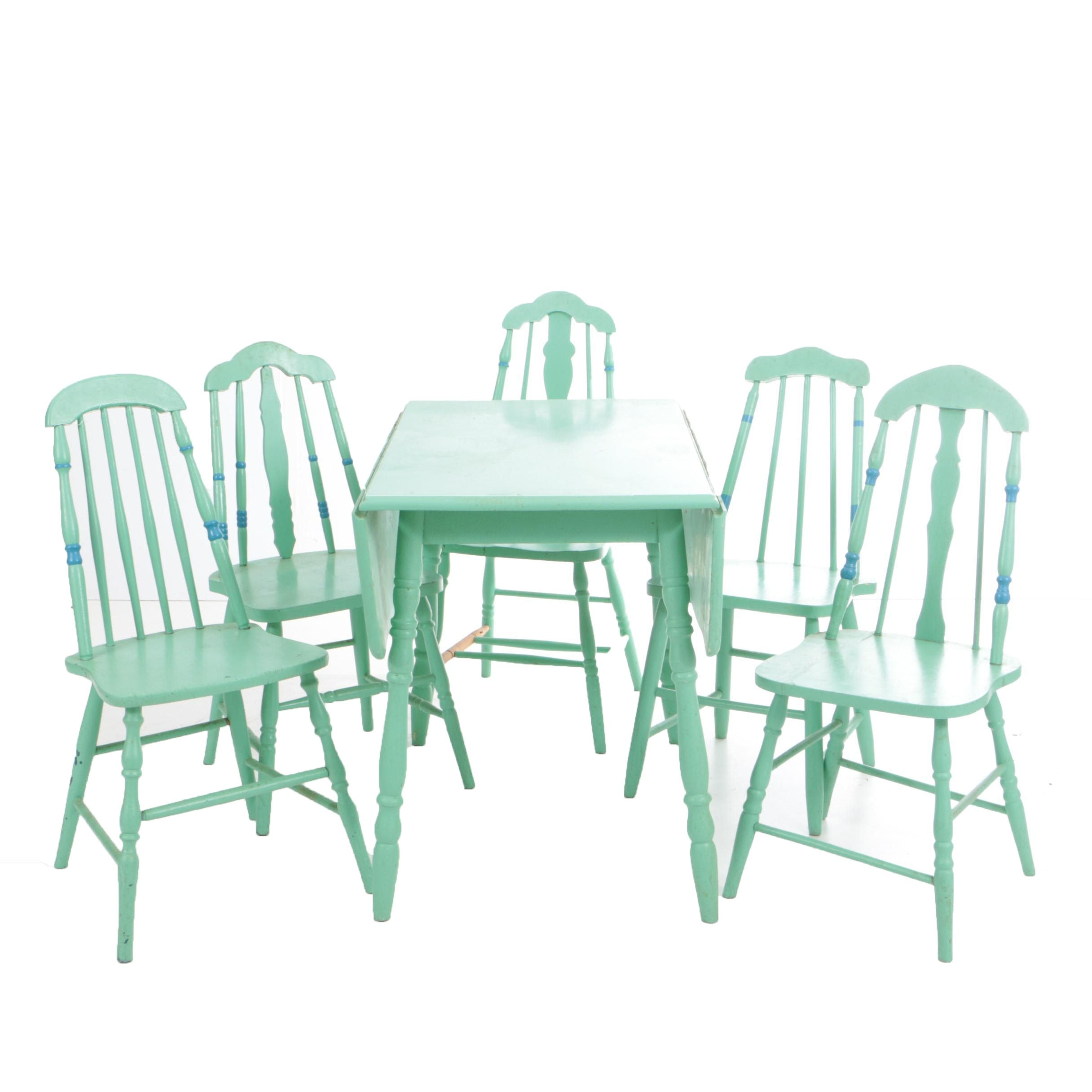 Vintage Drop-Leaf Dining Table and Side Chairs in Later, Green and Blue Paint