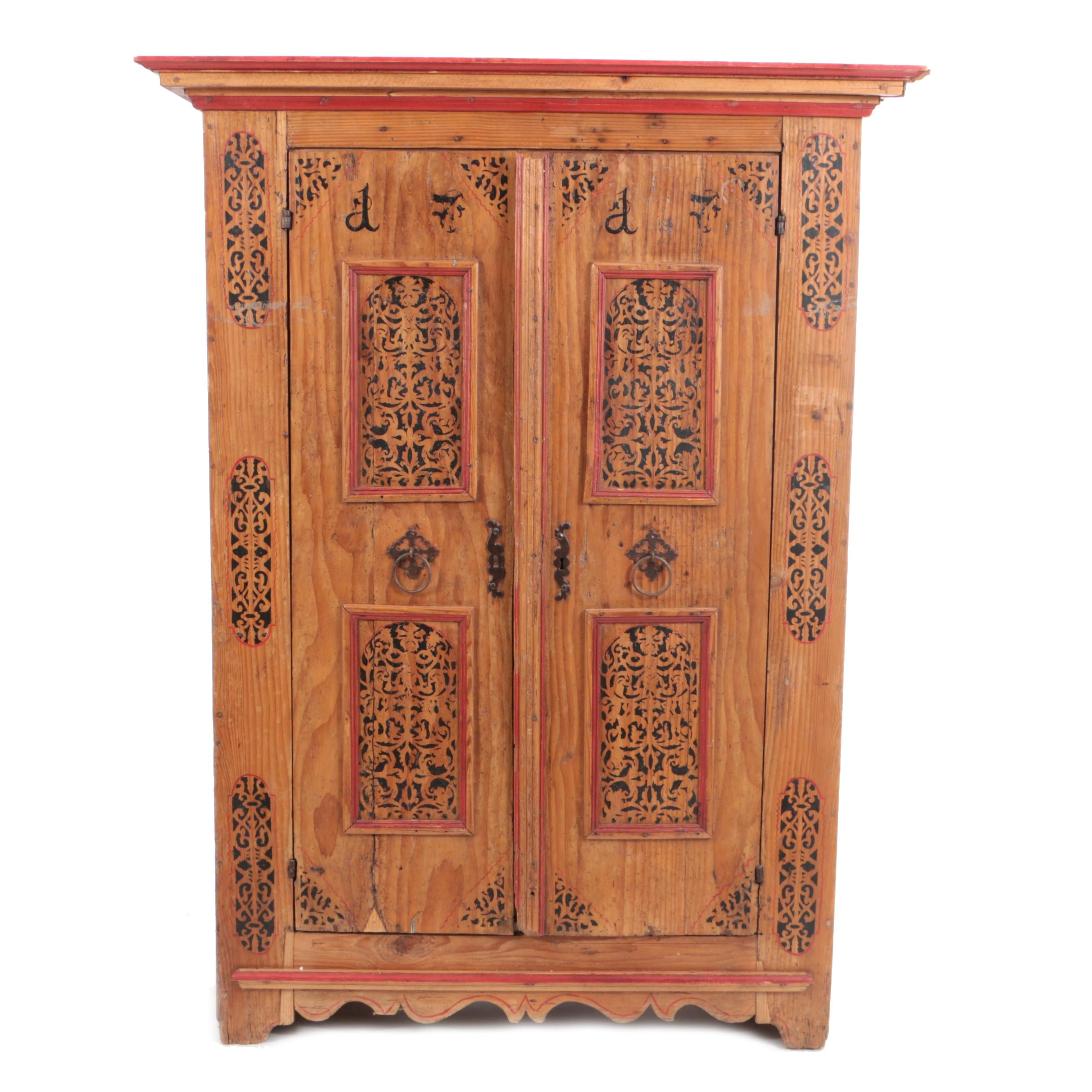 20th Century Spanish Colonial Style Pine Wardrobe with Stencil Decoration