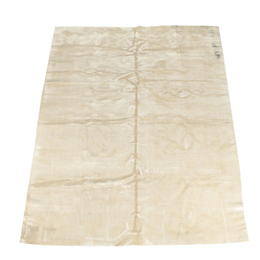 Hand Knotted Bamboo Silk Area Rug Attributed To Tufenkian