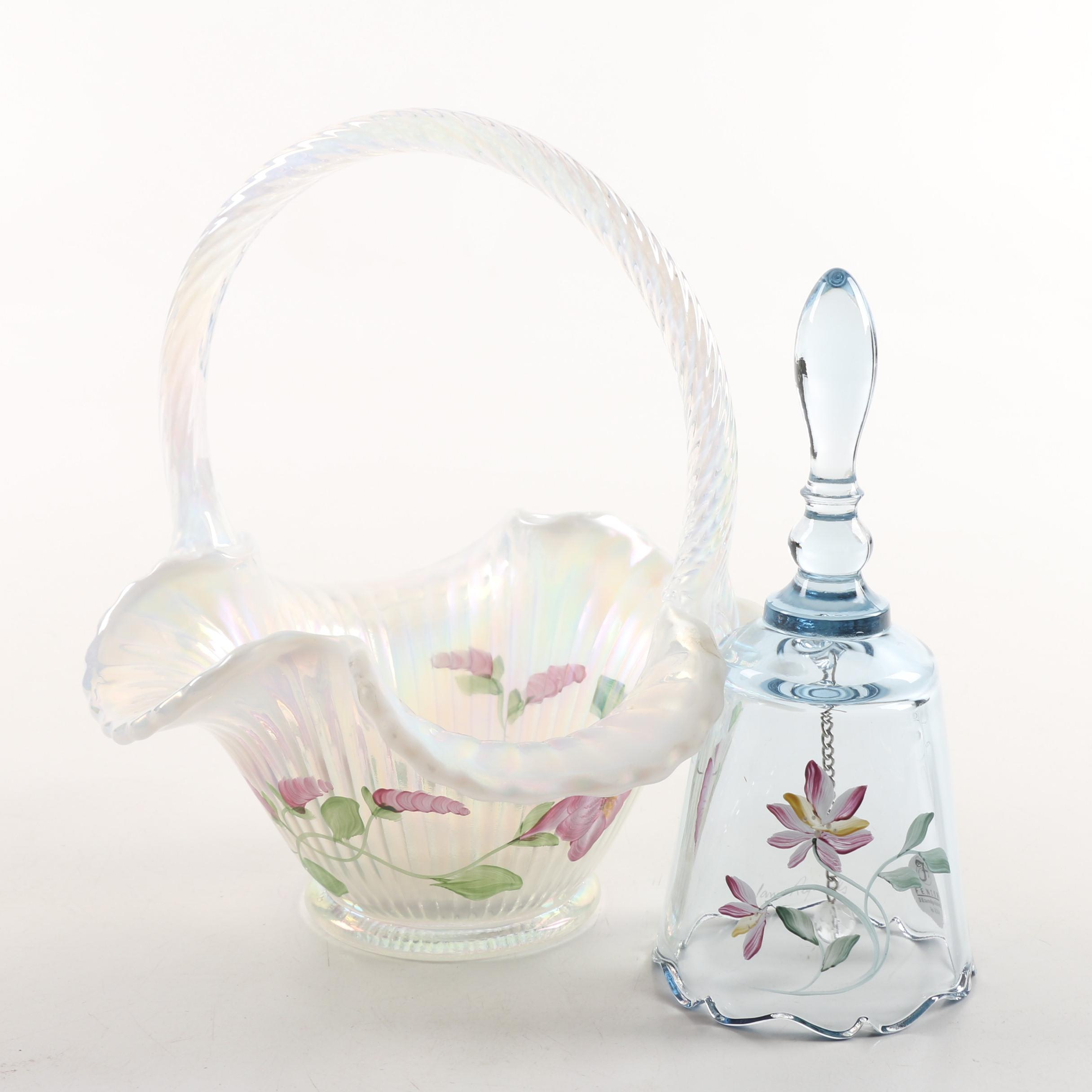 Fenton Glass Basket and Signed Hand-Painted Bell