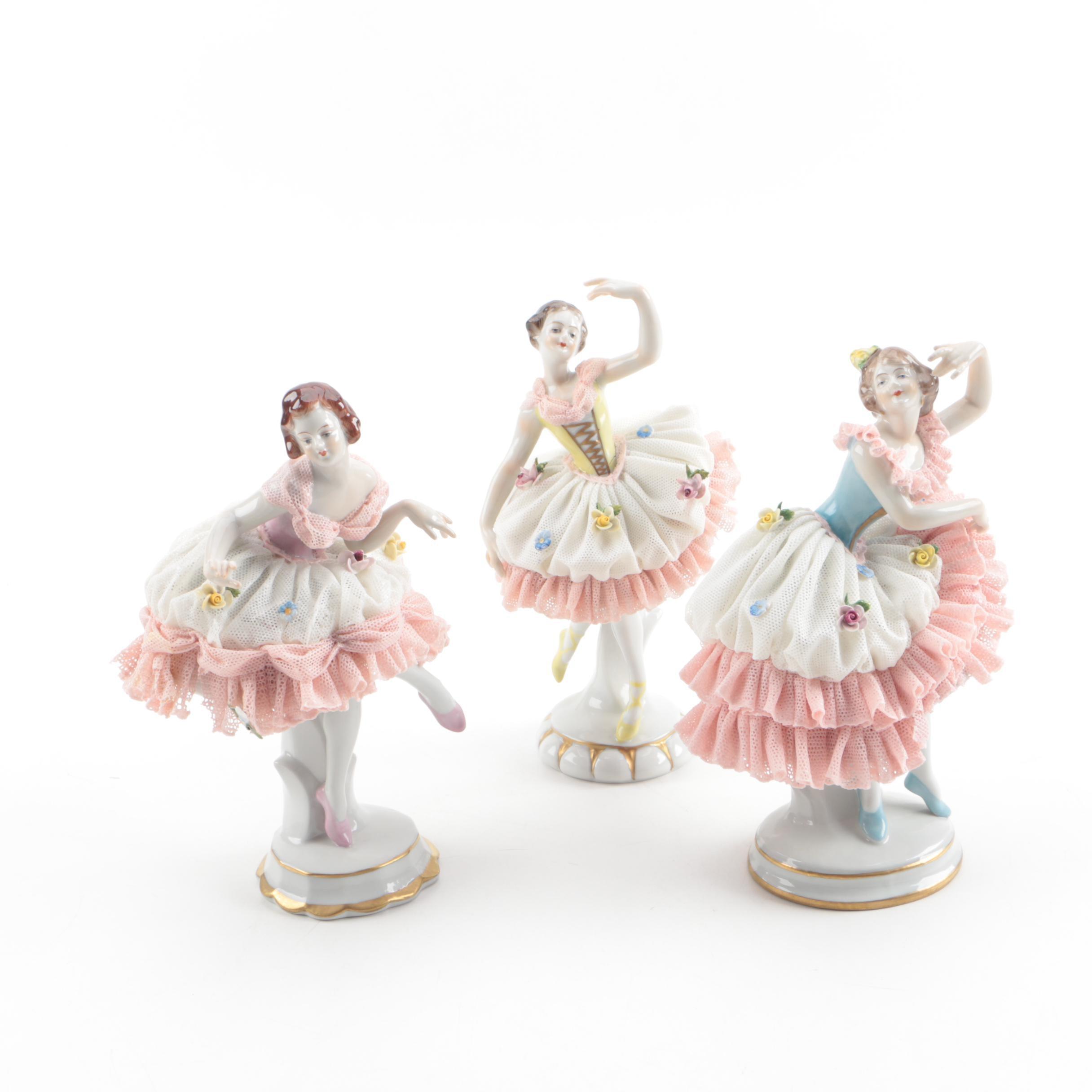 Aelteste Volkstedter Dresden Lace Porcelain Ballerina Figurines