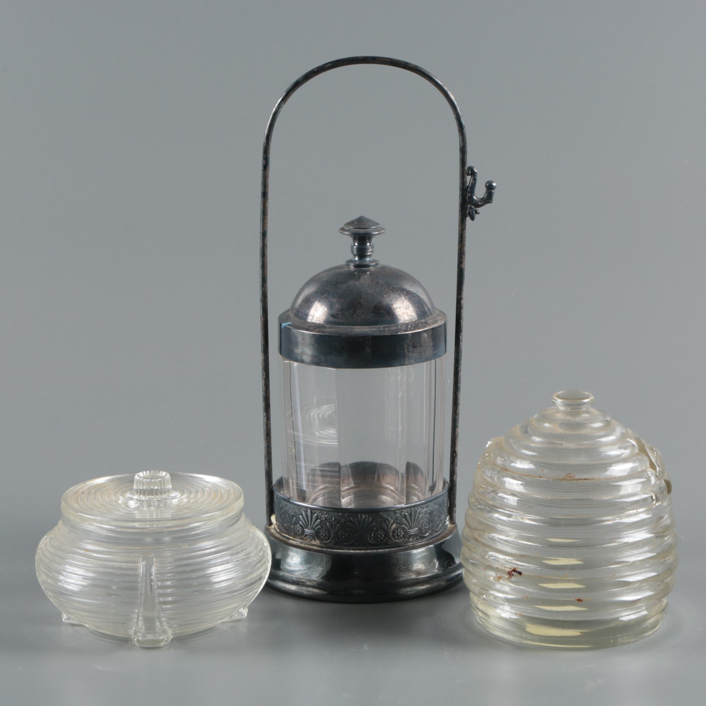 Vintage Metal and Glass Pickle Castor with Glass Honey Jars