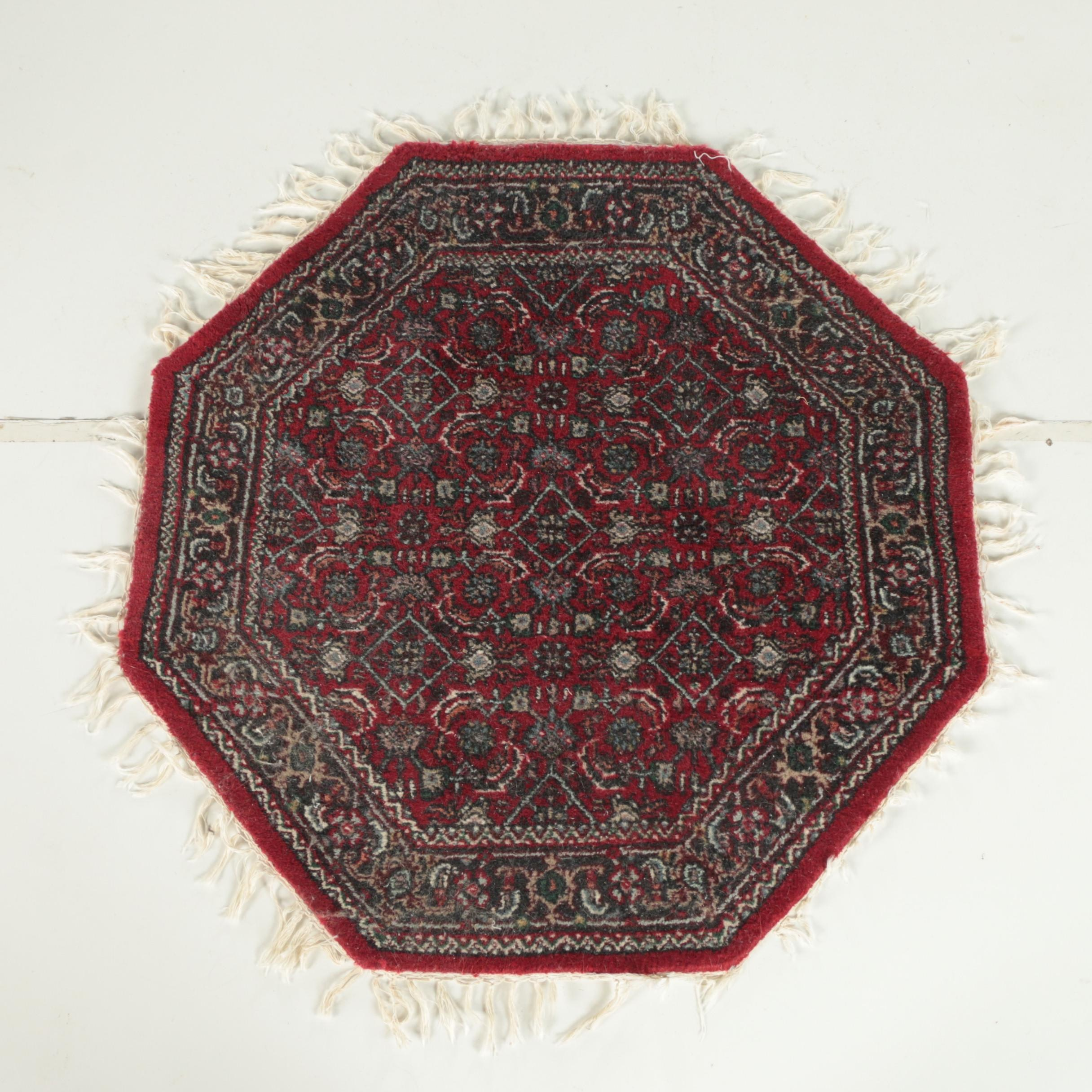 Hand-Knotted Indo-Persian Octagonal Wool Accent Rug