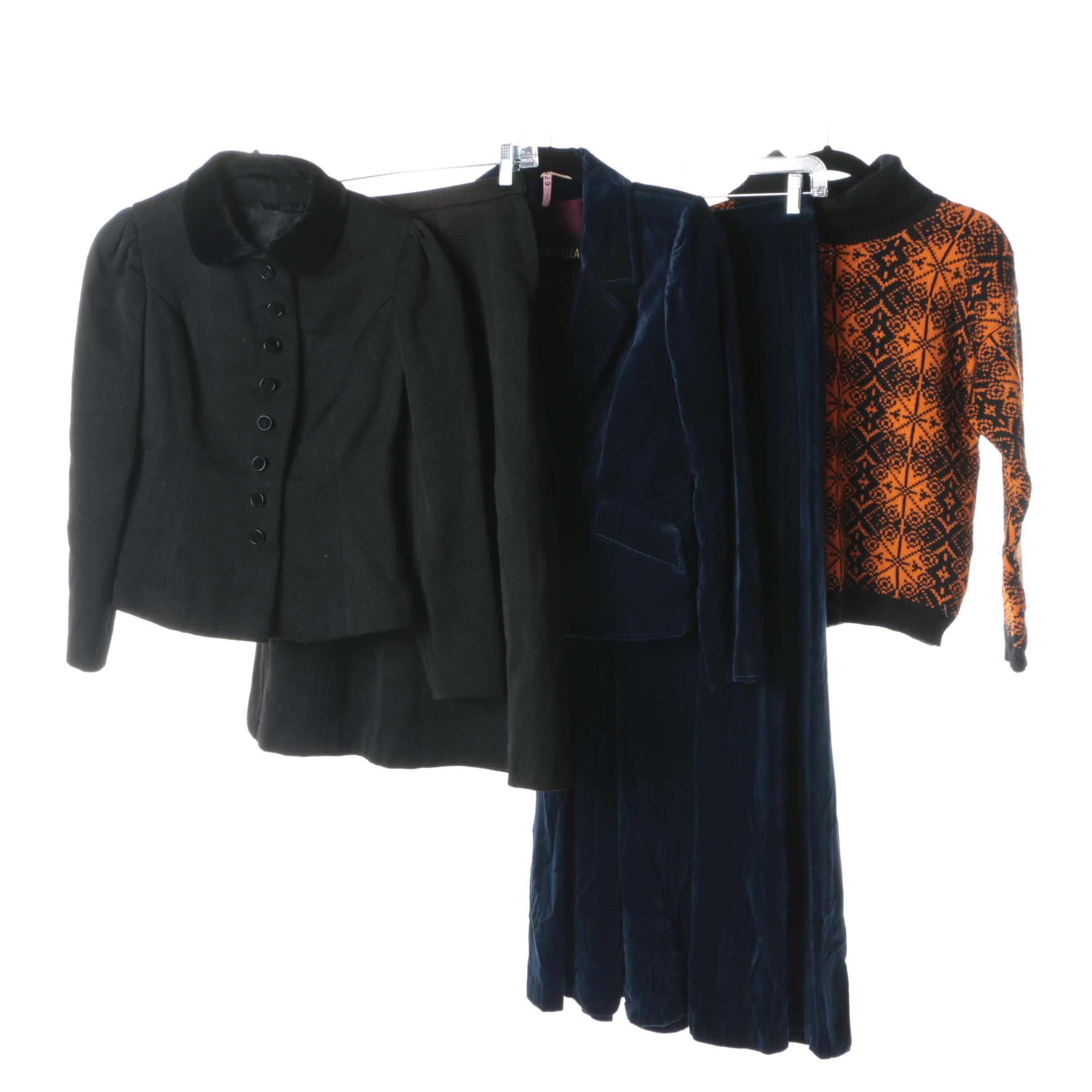 Vintage Black Wool and Blue Velvet Skirt Suits and Sasnit of Norway Sweater