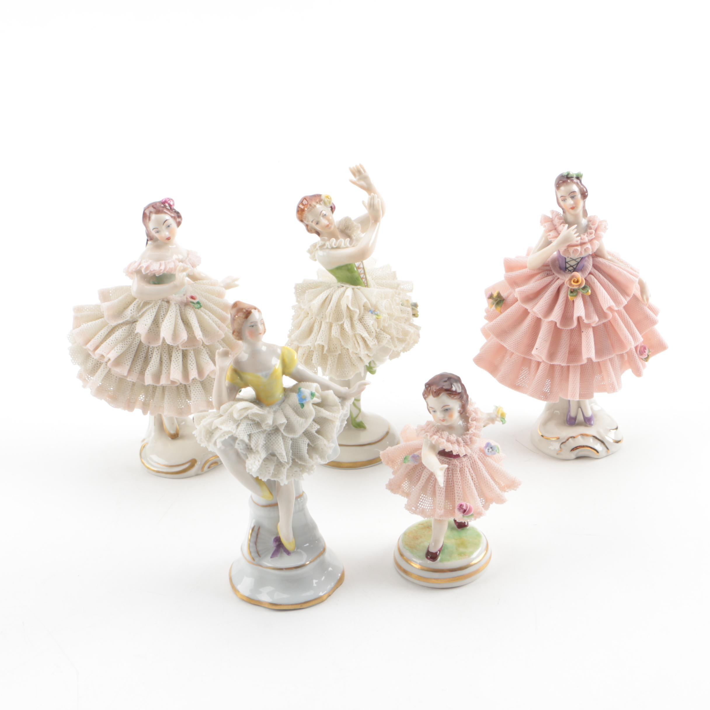 Dresden Lace Porcelain Lace Ballerina Figurines Including Aelteste Volkstedter