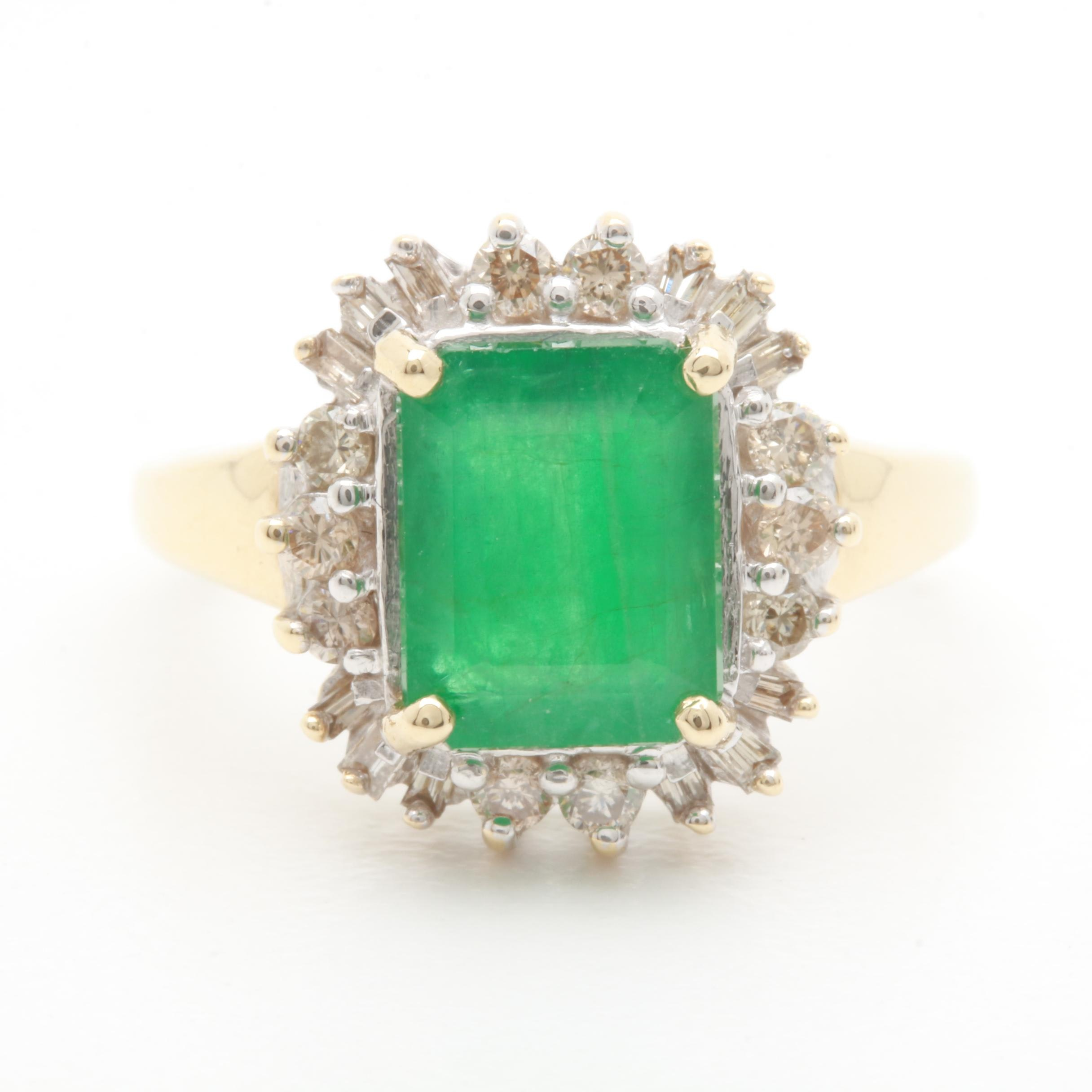 14K Yellow Gold 2.23 CT Emerald and Diamond Ring