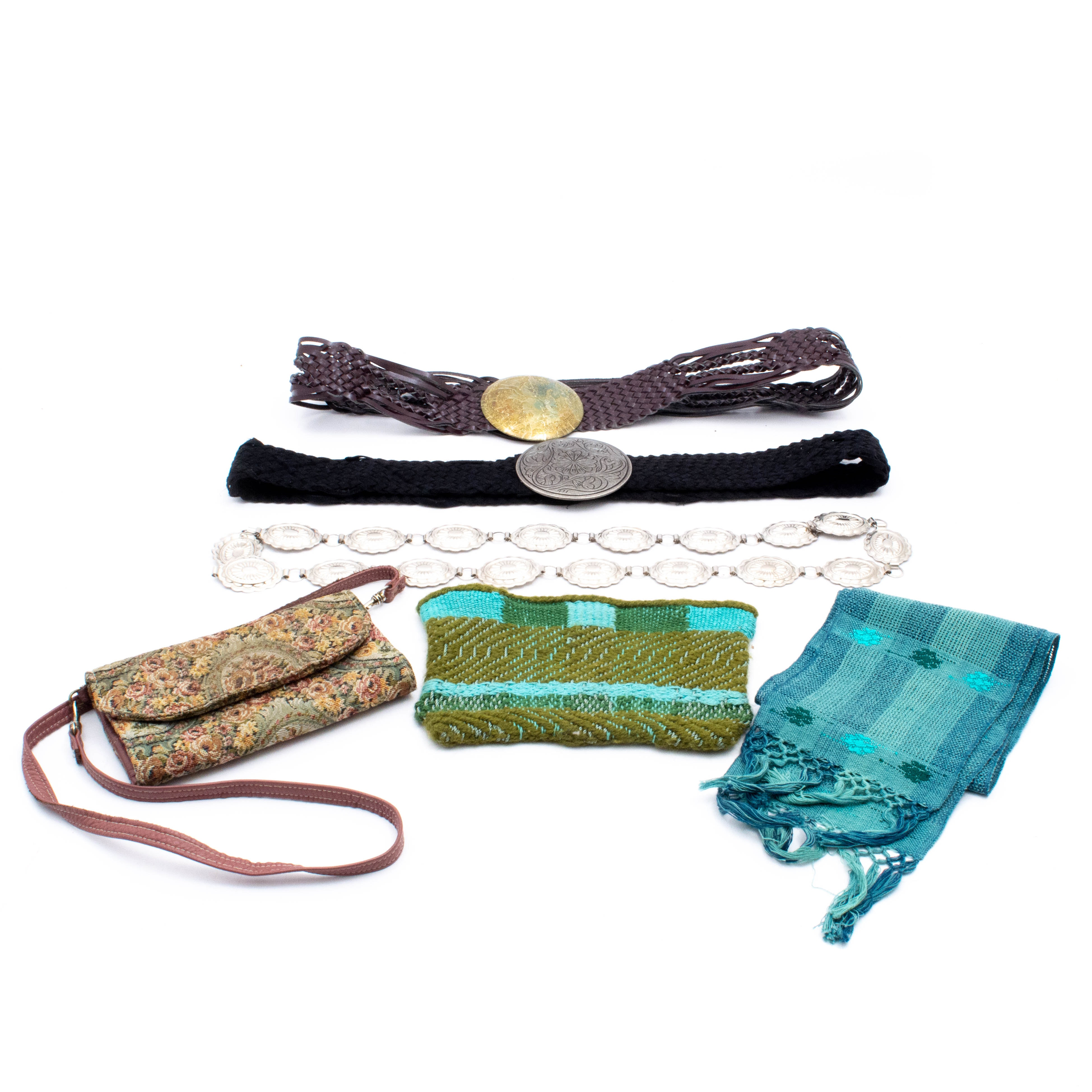 Women's Belts, Woven Scarf, Tapestry Crossbody Bag and Zippered Pouch