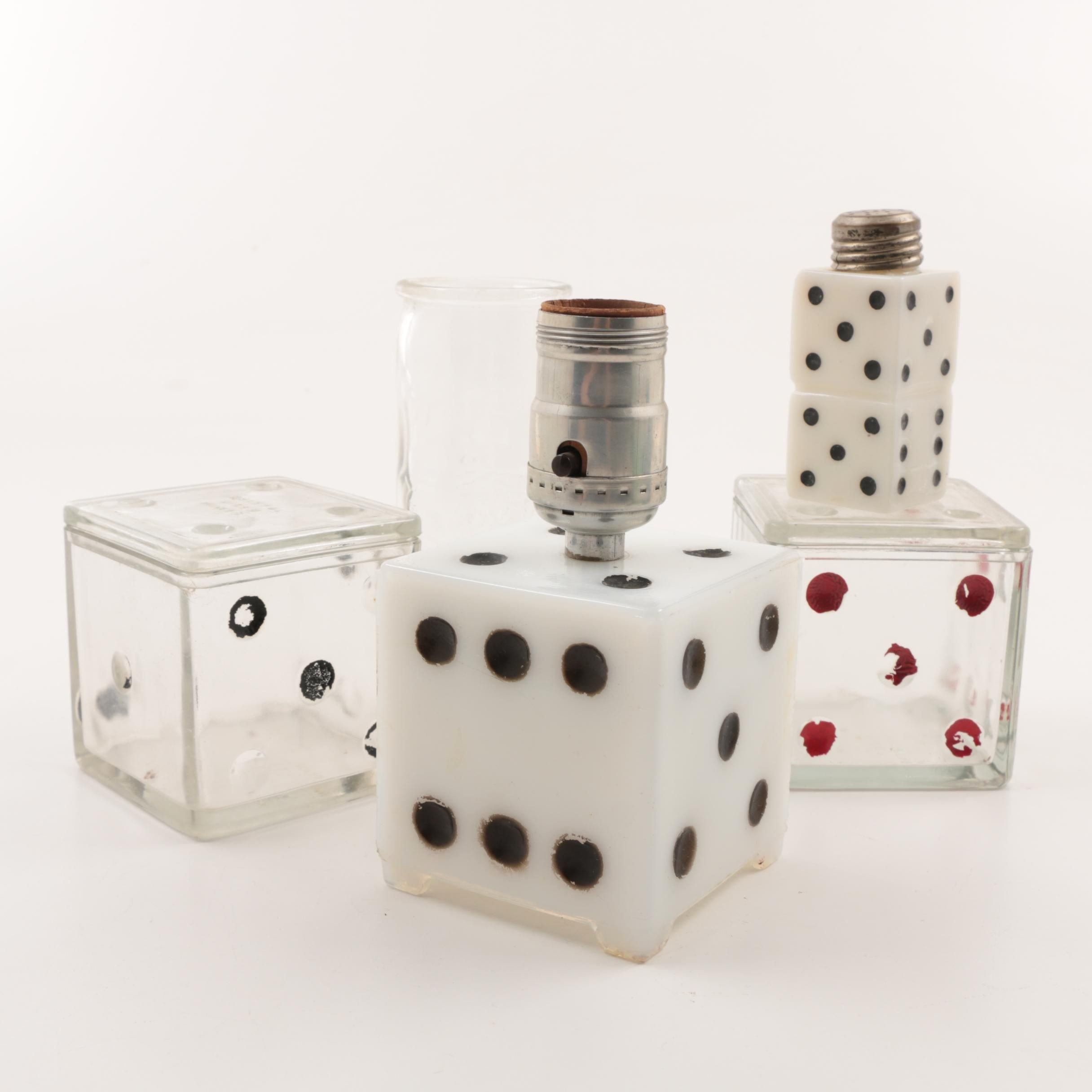 Vintage Pressed Glass Dice Boxes, Salt Shaker, and Table Lamp