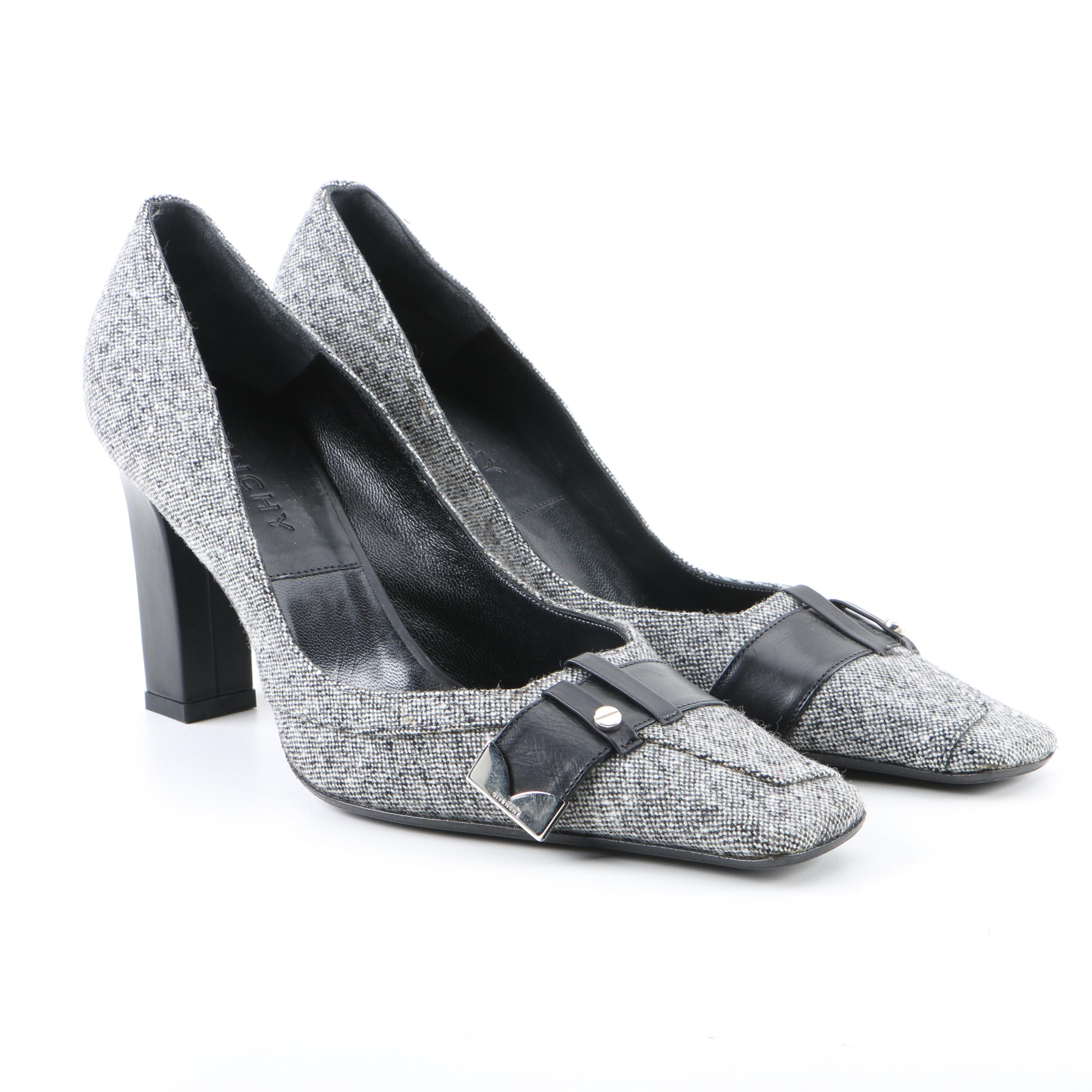 Givenchy Black and Off-White Tweed and Leather High-Heeled Pumps